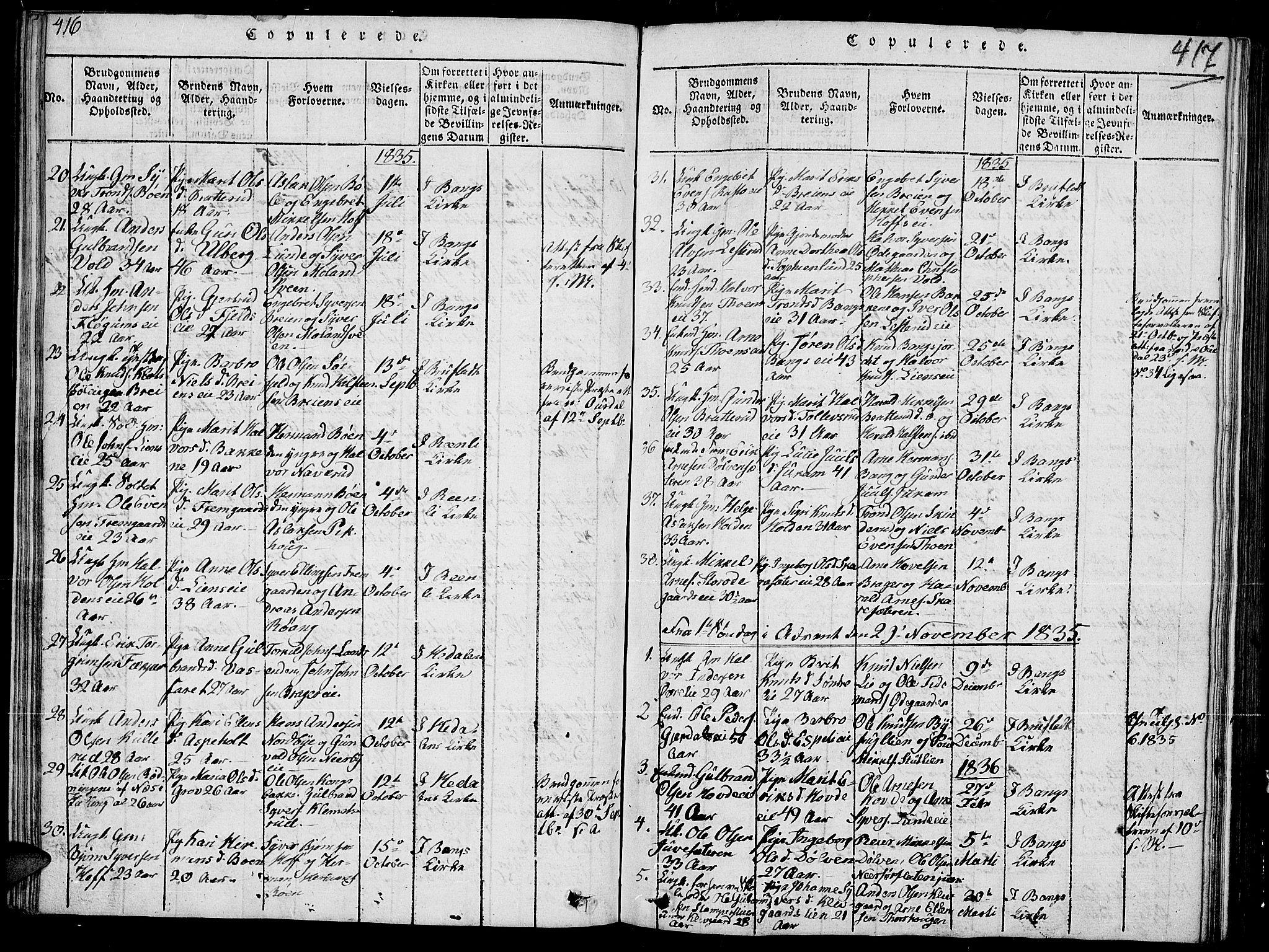 SAH, Sør-Aurdal prestekontor, Klokkerbok nr. 2, 1826-1840, s. 416-417