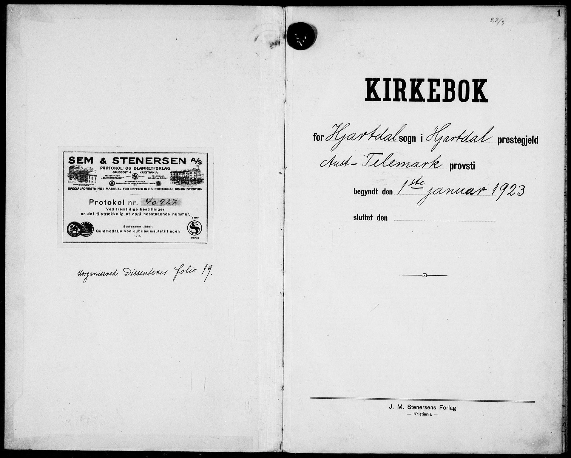 SAKO, Hjartdal kirkebøker, F/Fa/L0012: Ministerialbok nr. I 12, 1923-1930, s. 1