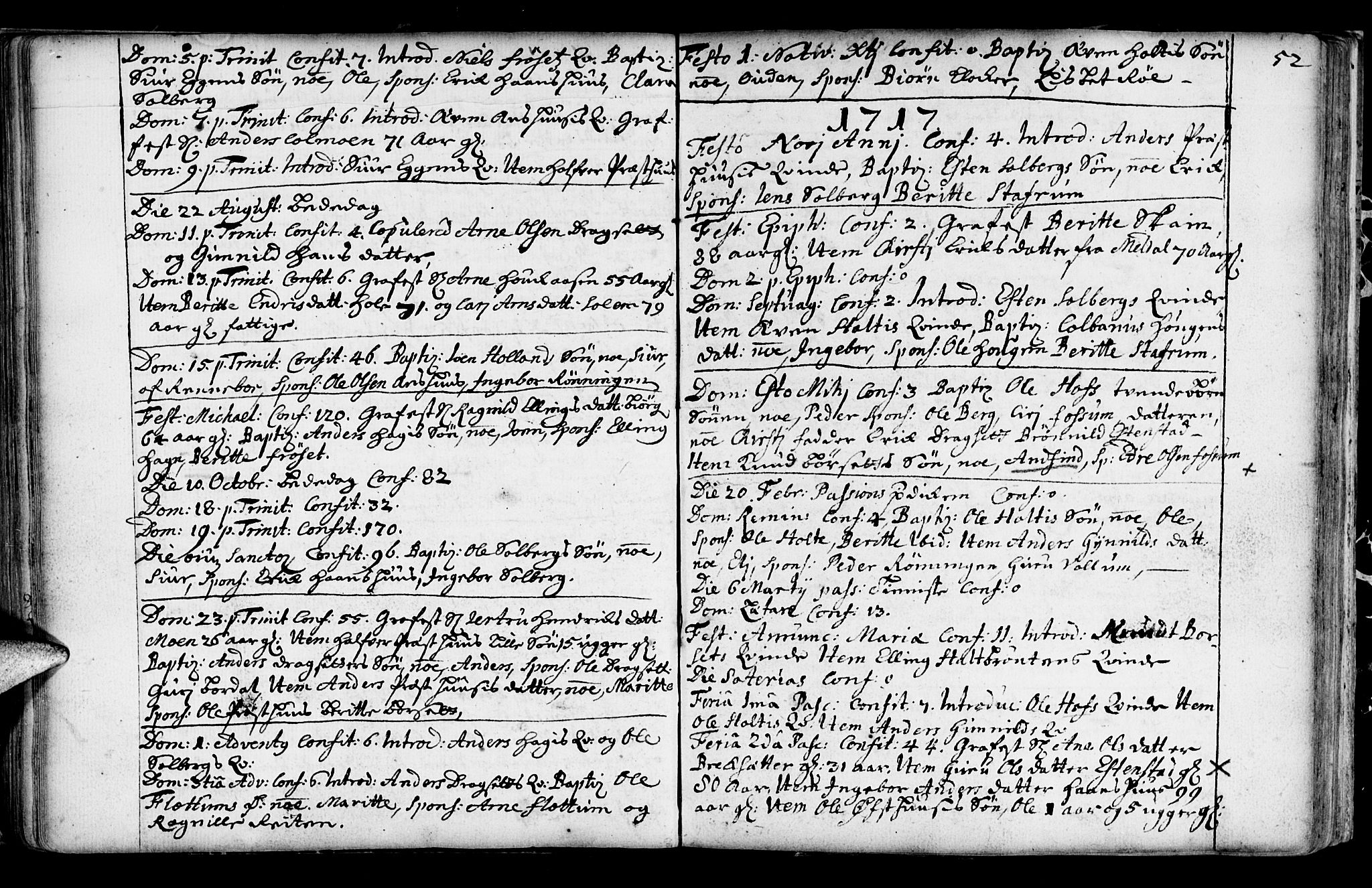 SAT, Ministerialprotokoller, klokkerbøker og fødselsregistre - Sør-Trøndelag, 689/L1036: Ministerialbok nr. 689A01, 1696-1746, s. 52