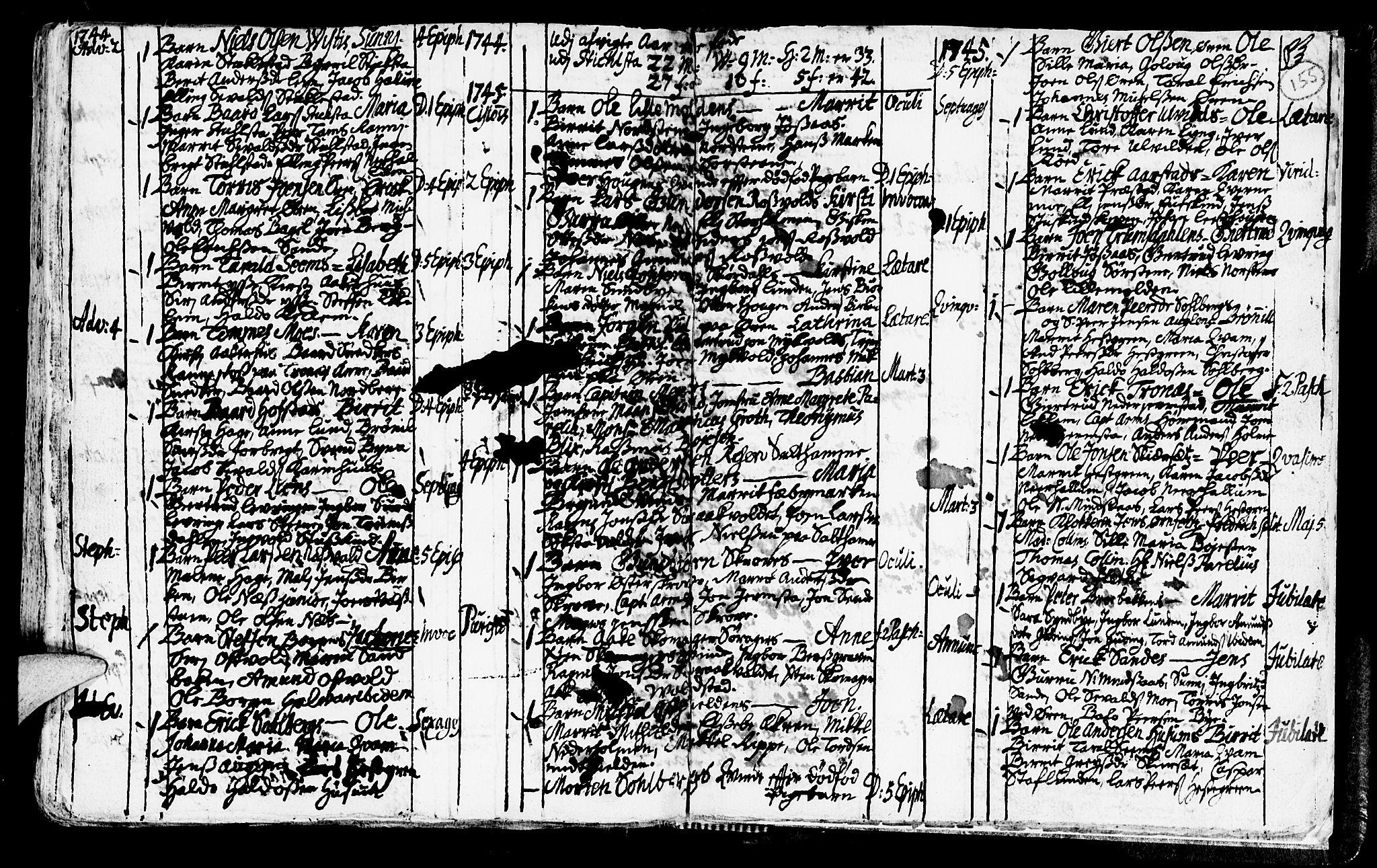 SAT, Ministerialprotokoller, klokkerbøker og fødselsregistre - Nord-Trøndelag, 723/L0230: Ministerialbok nr. 723A01, 1705-1747, s. 155