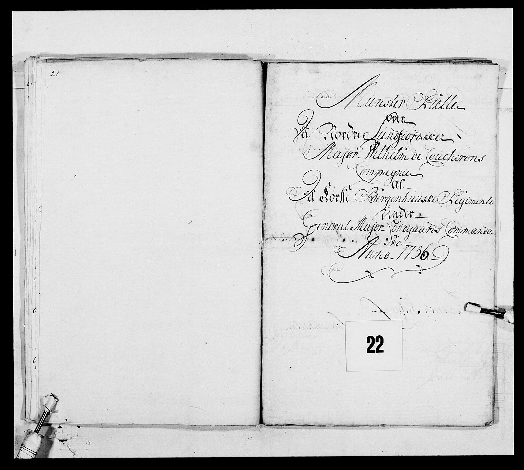 RA, Kommanderende general (KG I) med Det norske krigsdirektorium, E/Ea/L0517: 1. Bergenhusiske regiment, 1742-1756, s. 286