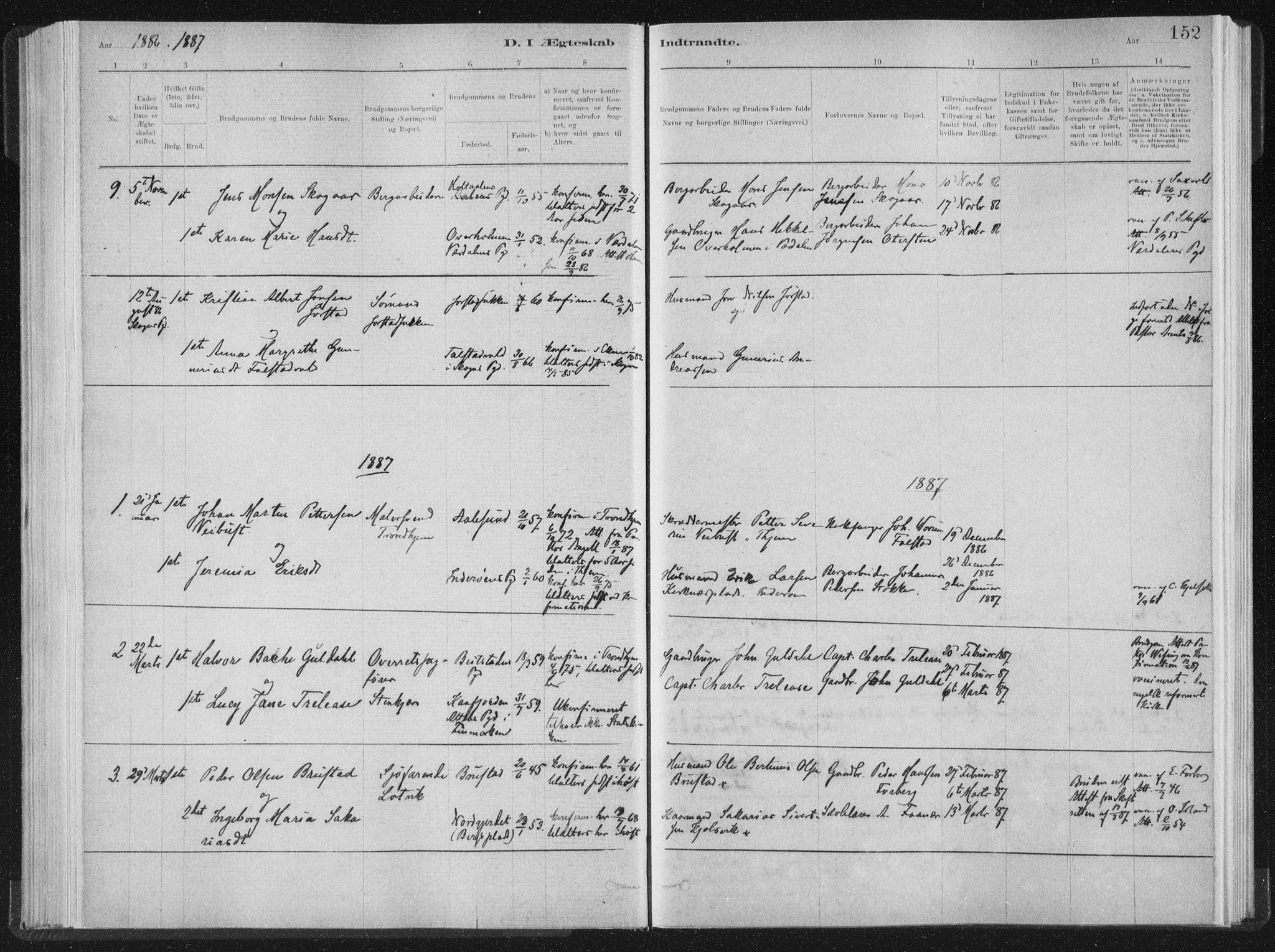 SAT, Ministerialprotokoller, klokkerbøker og fødselsregistre - Nord-Trøndelag, 722/L0220: Ministerialbok nr. 722A07, 1881-1908, s. 152