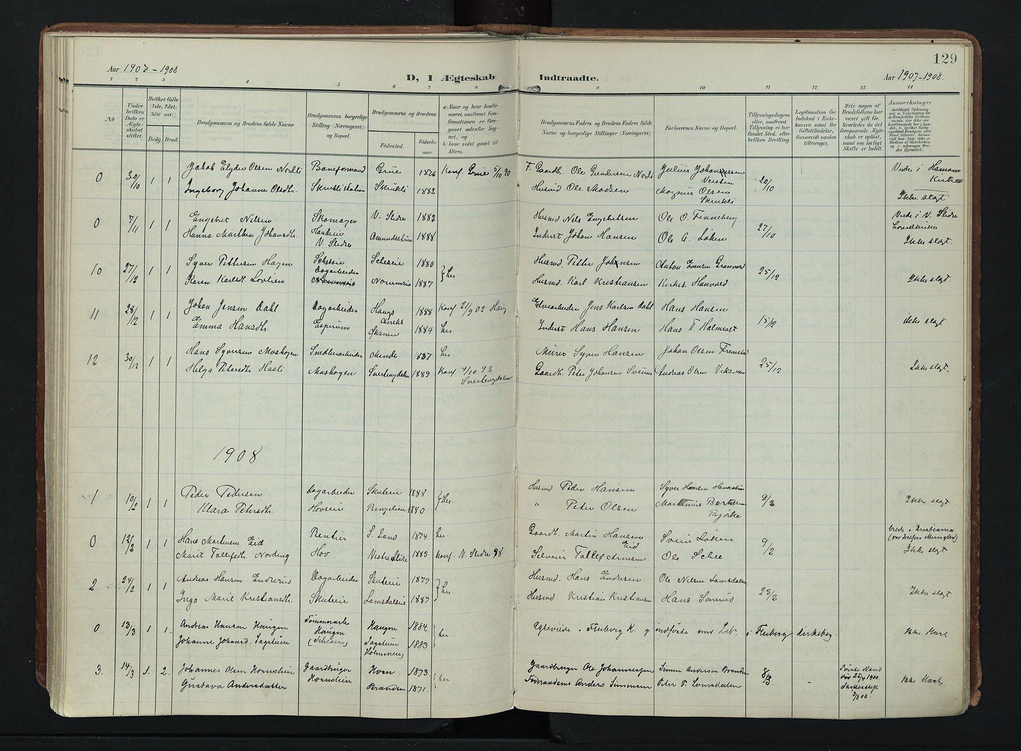 SAH, Søndre Land prestekontor, K/L0007: Ministerialbok nr. 7, 1905-1914, s. 129