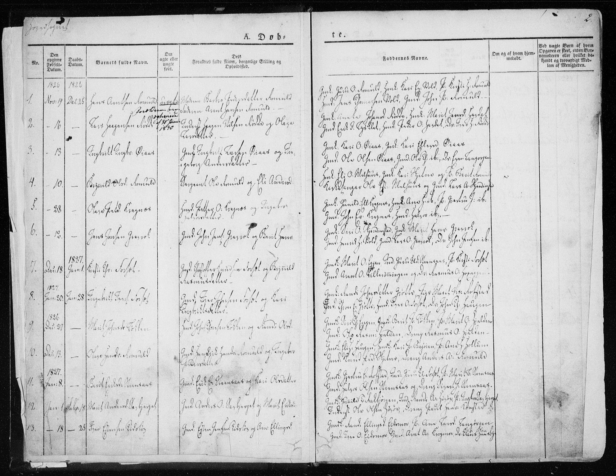 SAT, Ministerialprotokoller, klokkerbøker og fødselsregistre - Sør-Trøndelag, 691/L1069: Ministerialbok nr. 691A04, 1826-1841, s. 2
