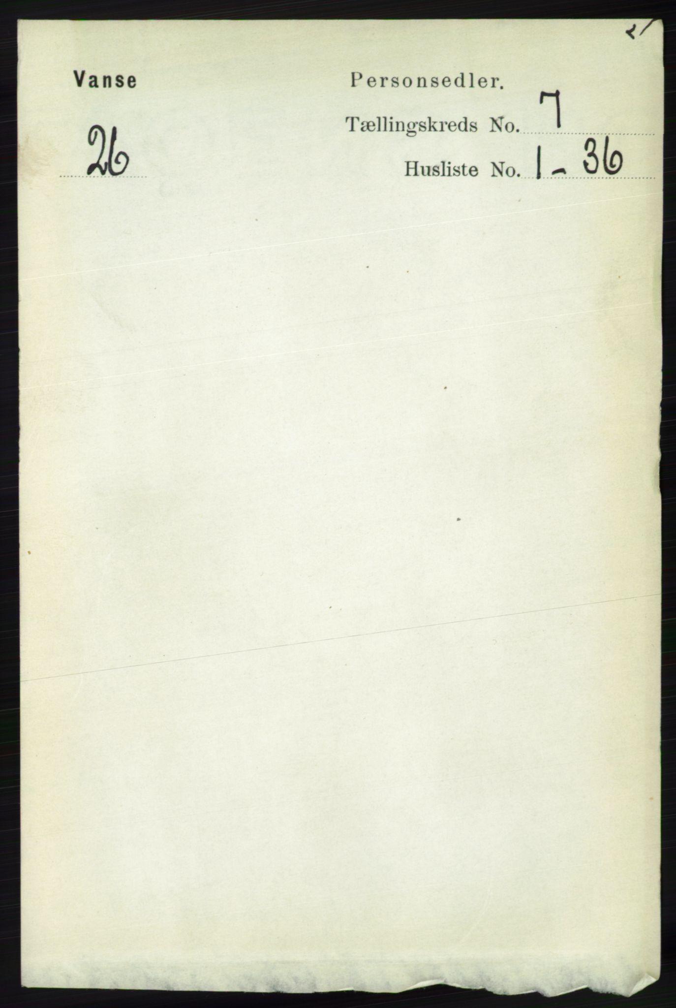 RA, Folketelling 1891 for 1041 Vanse herred, 1891, s. 4088