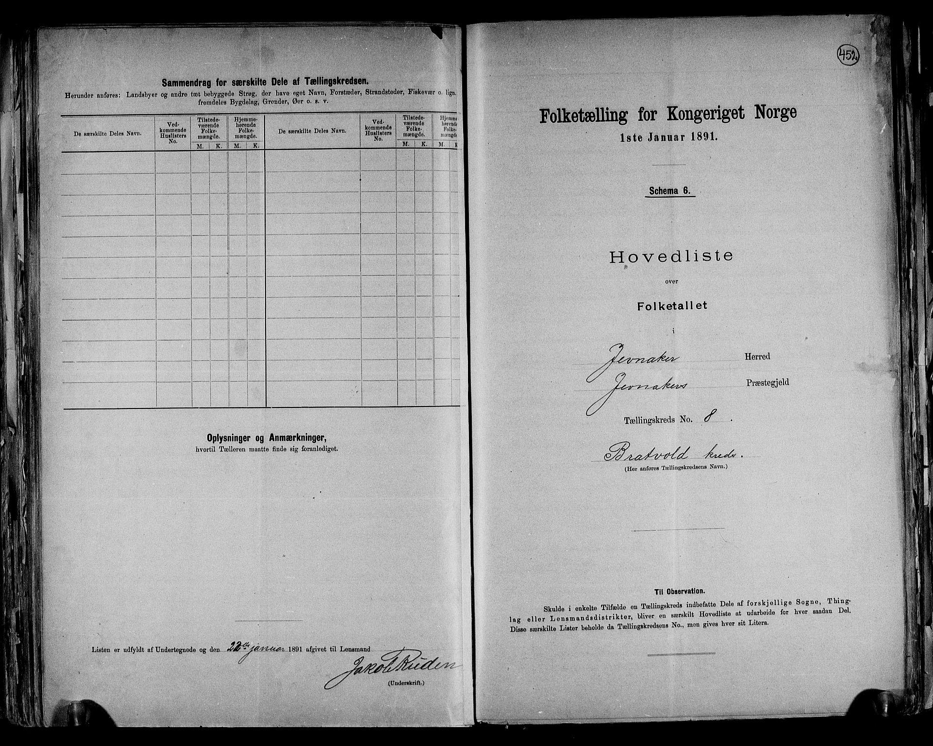 RA, Folketelling 1891 for 0532 Jevnaker herred, 1891, s. 22
