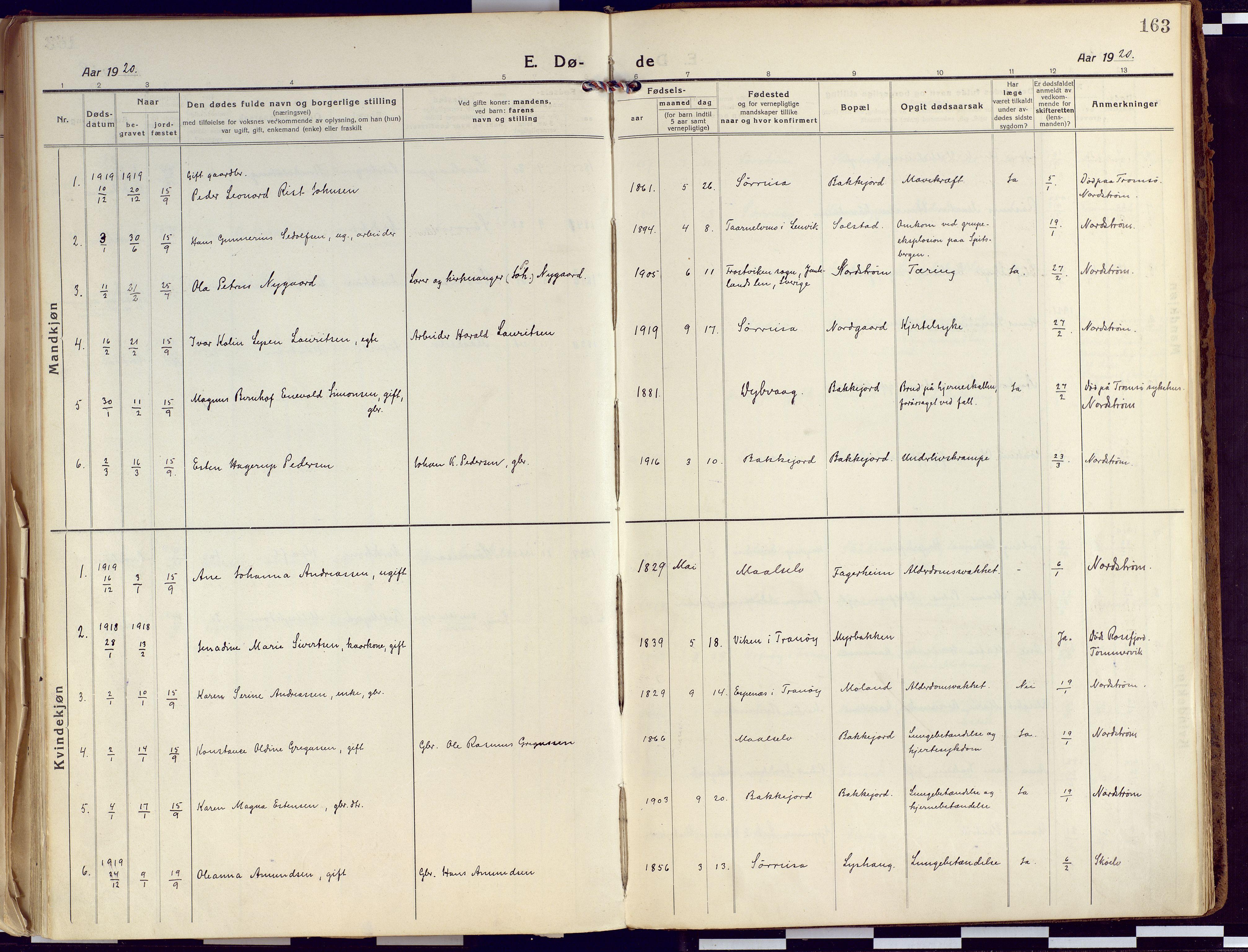 SATØ, Tranøy sokneprestkontor, I/Ia/Iaa/L0015kirke: Ministerialbok nr. 15, 1919-1928, s. 163