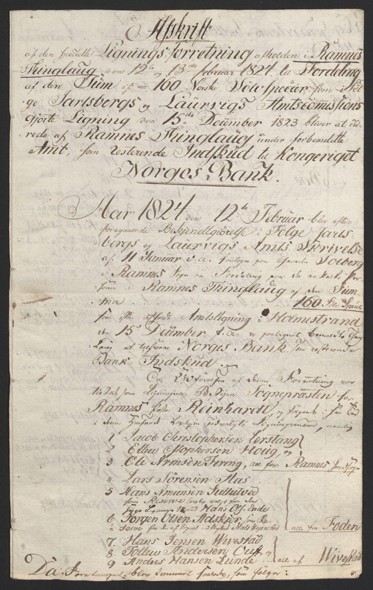 NOBA, Norges Bank/Sølvskatten 1816*, 1816-1824, s. 124