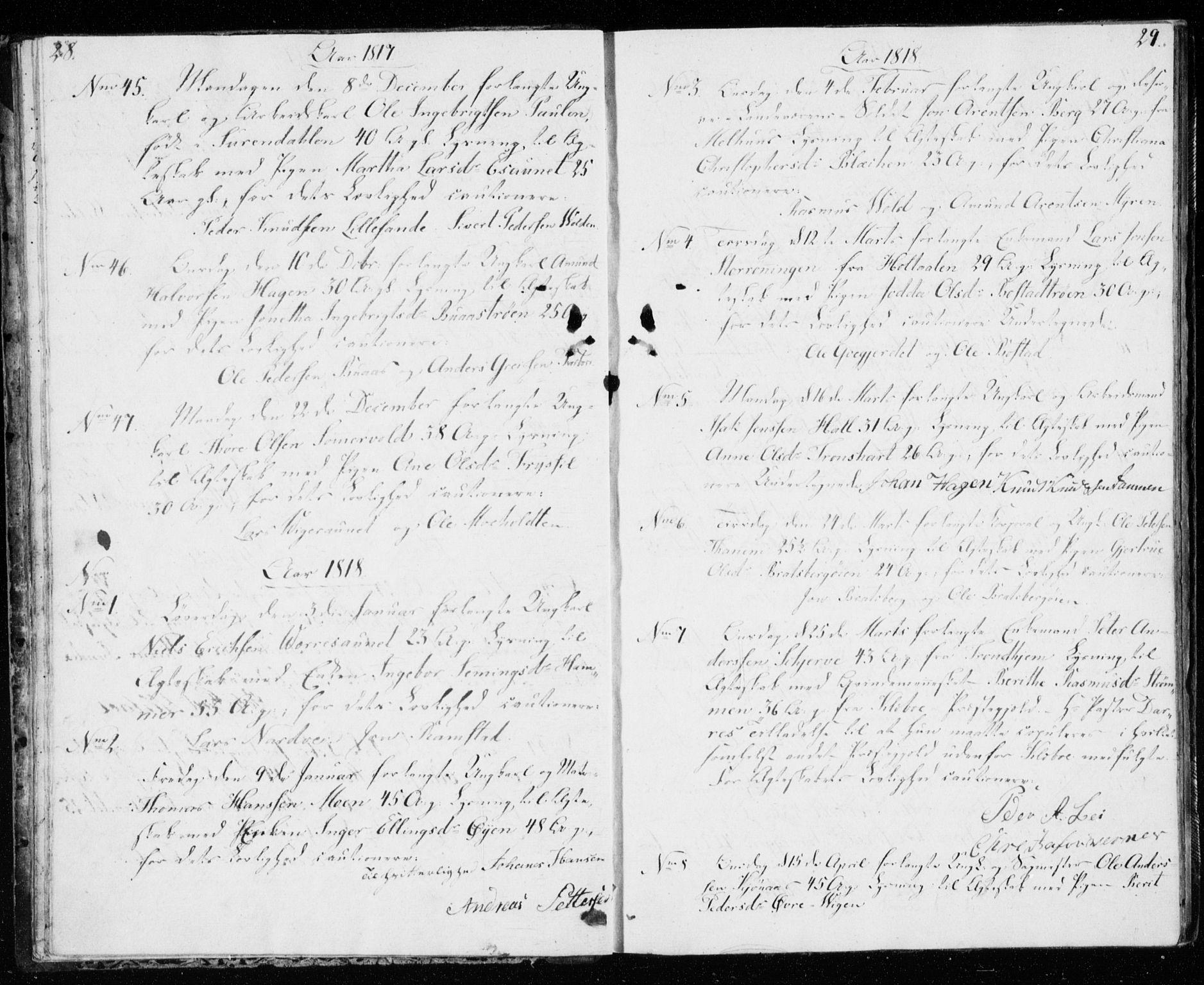 SAT, Ministerialprotokoller, klokkerbøker og fødselsregistre - Sør-Trøndelag, 606/L0295: Lysningsprotokoll nr. 606A10, 1815-1833, s. 28-29