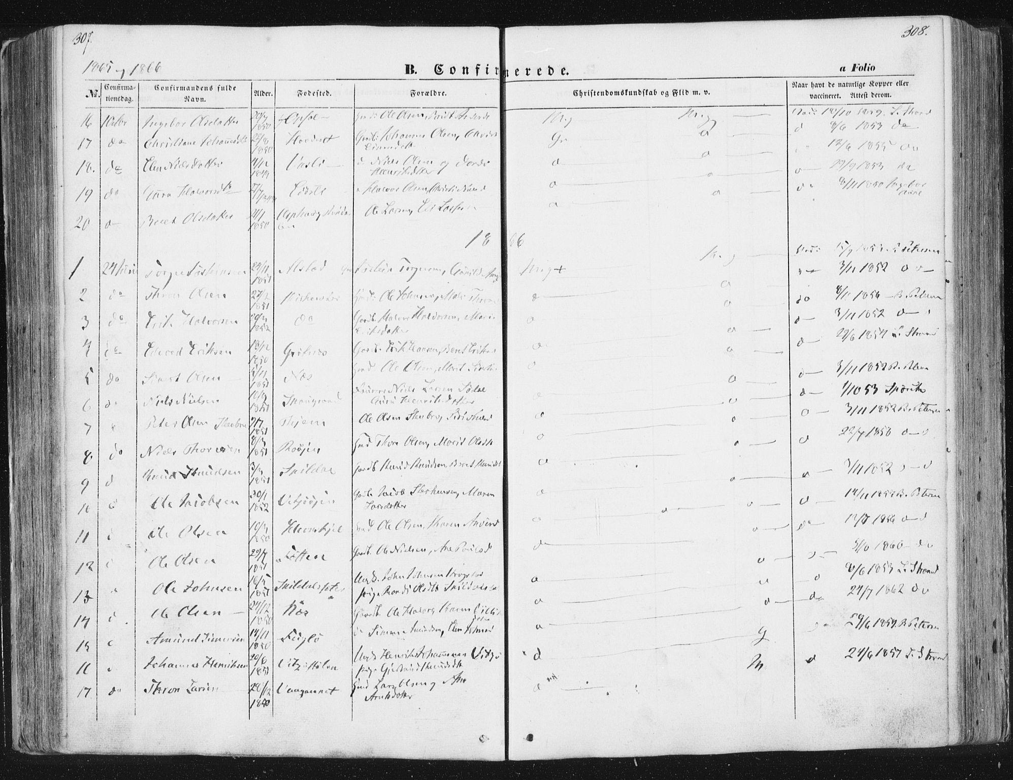 SAT, Ministerialprotokoller, klokkerbøker og fødselsregistre - Sør-Trøndelag, 630/L0494: Ministerialbok nr. 630A07, 1852-1868, s. 307-308