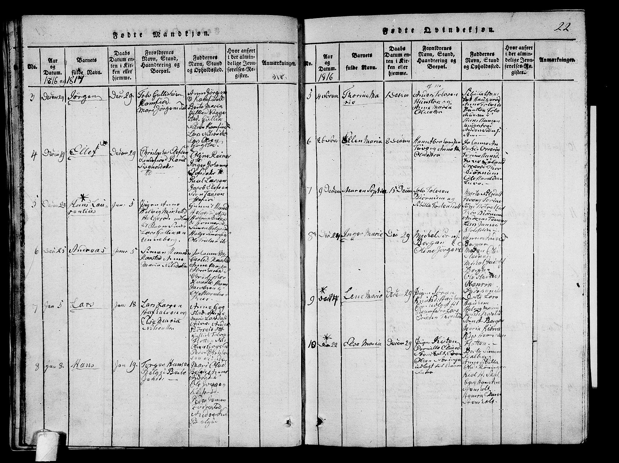 SAKO, Sandar kirkebøker, G/Ga/L0001: Klokkerbok nr. 1, 1814-1835, s. 22