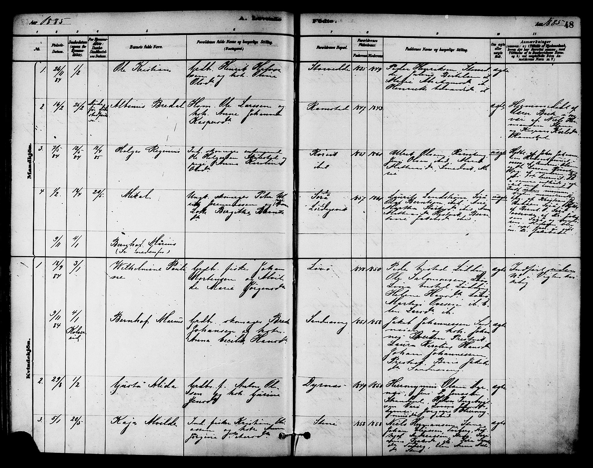 SAT, Ministerialprotokoller, klokkerbøker og fødselsregistre - Nord-Trøndelag, 784/L0672: Ministerialbok nr. 784A07, 1880-1887, s. 48