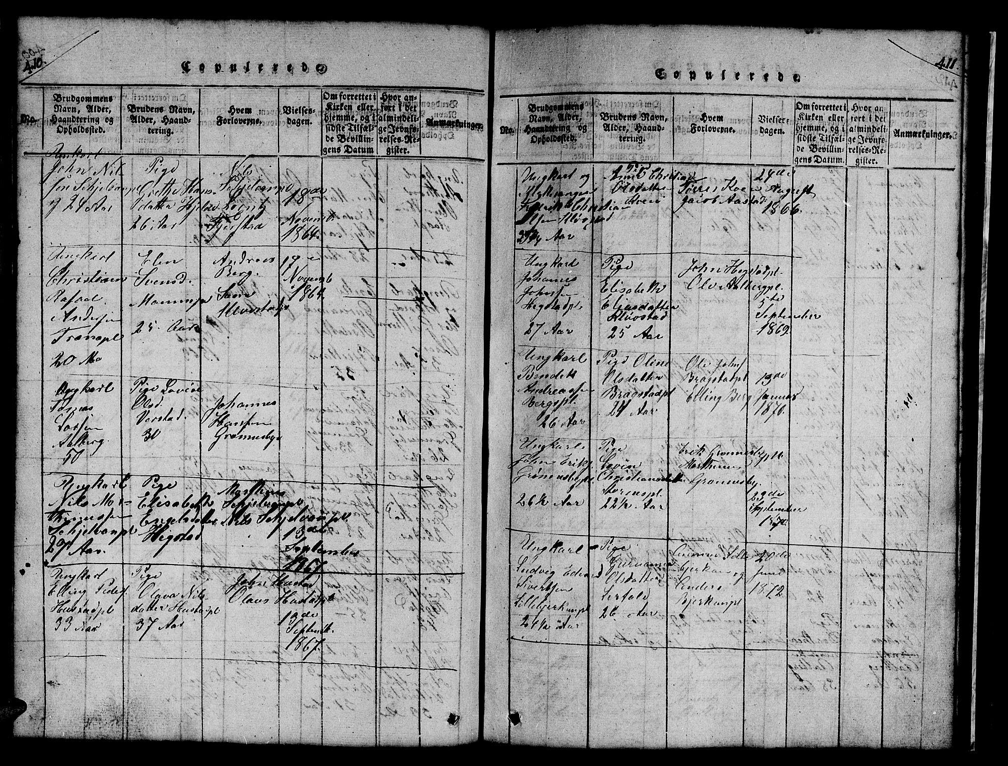 SAT, Ministerialprotokoller, klokkerbøker og fødselsregistre - Nord-Trøndelag, 732/L0317: Klokkerbok nr. 732C01, 1816-1881, s. 410-411