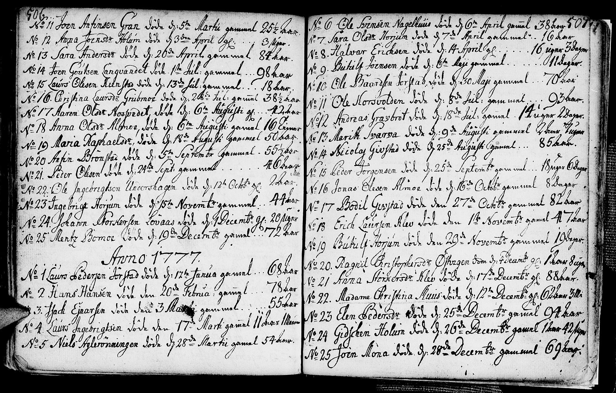 SAT, Ministerialprotokoller, klokkerbøker og fødselsregistre - Nord-Trøndelag, 749/L0467: Ministerialbok nr. 749A01, 1733-1787, s. 506-507
