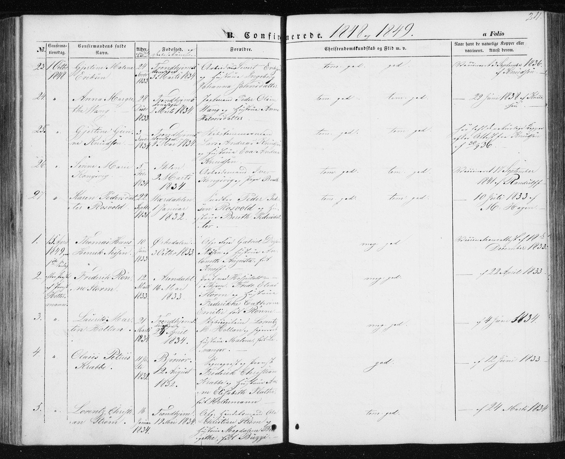 SAT, Ministerialprotokoller, klokkerbøker og fødselsregistre - Sør-Trøndelag, 602/L0112: Ministerialbok nr. 602A10, 1848-1859, s. 211