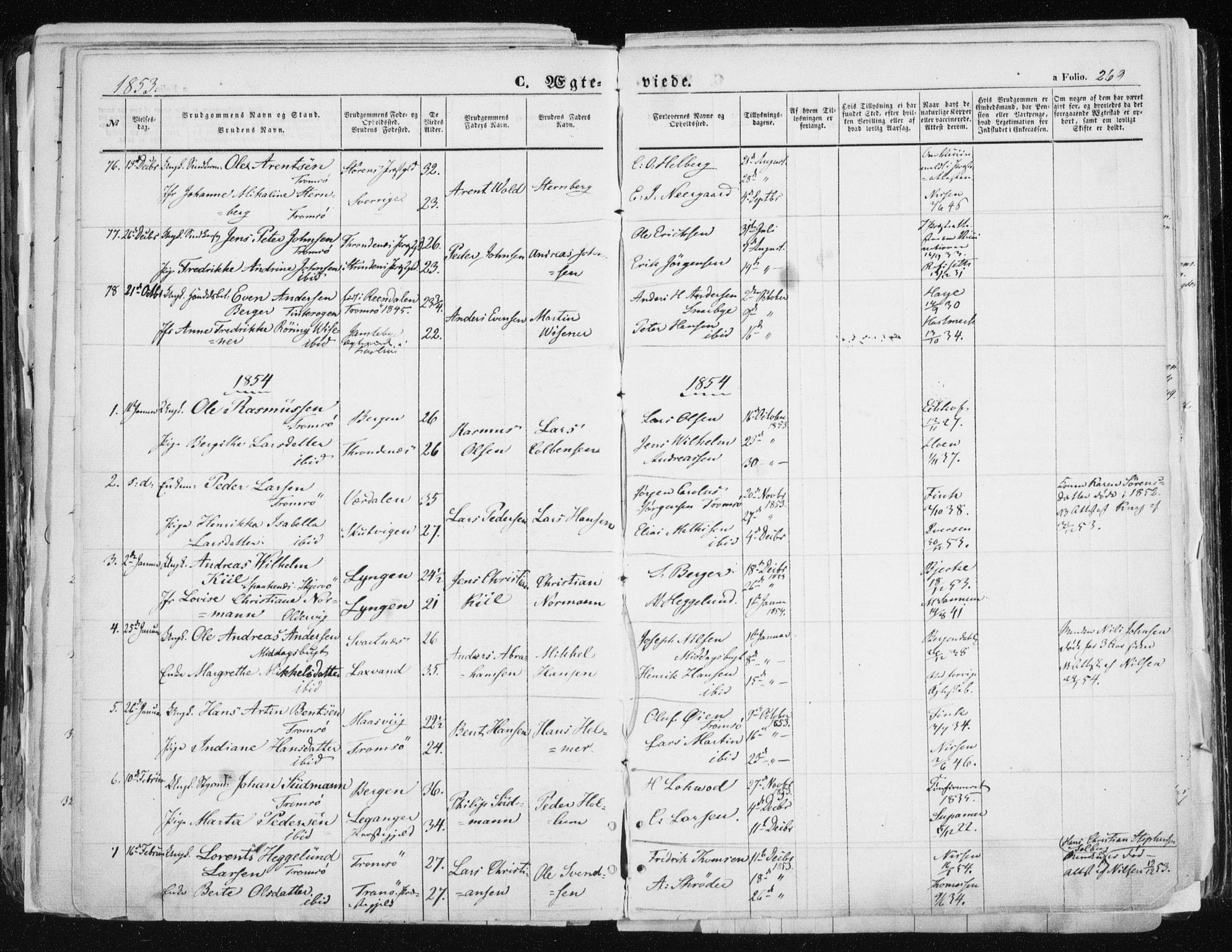 SATØ, Tromsø sokneprestkontor/stiftsprosti/domprosti, G/Ga/L0010kirke: Ministerialbok nr. 10, 1848-1855, s. 269