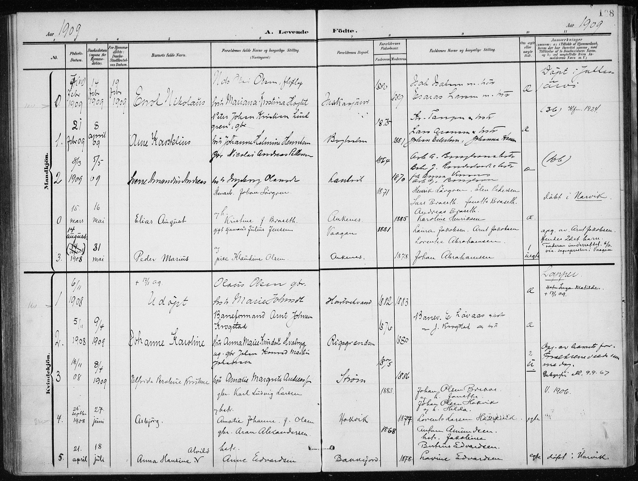 SAT, Ministerialprotokoller, klokkerbøker og fødselsregistre - Nordland, 866/L0941: Ministerialbok nr. 866A04, 1901-1917, s. 108
