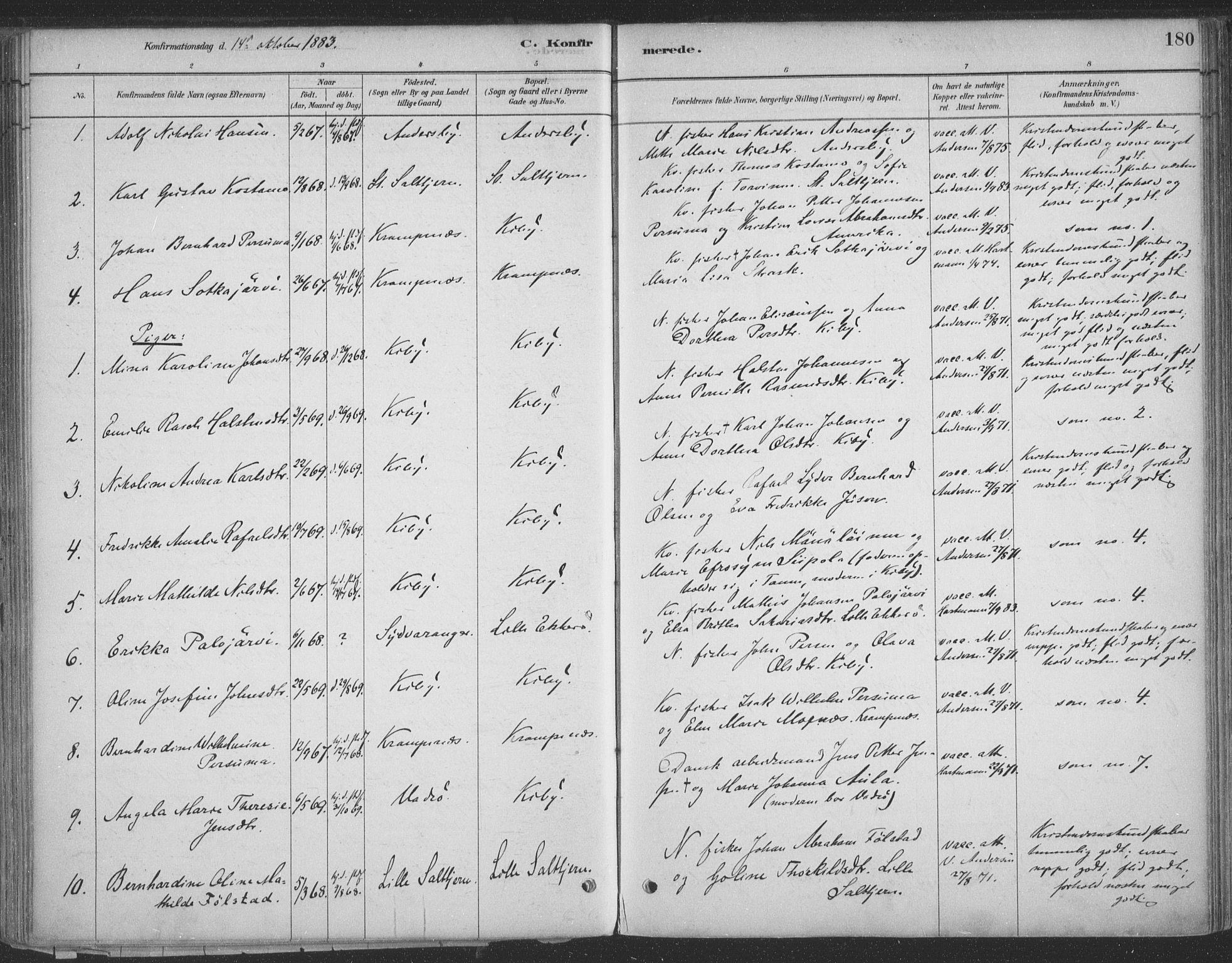 SATØ, Vadsø sokneprestkontor, H/Ha/L0009kirke: Ministerialbok nr. 9, 1881-1917, s. 180