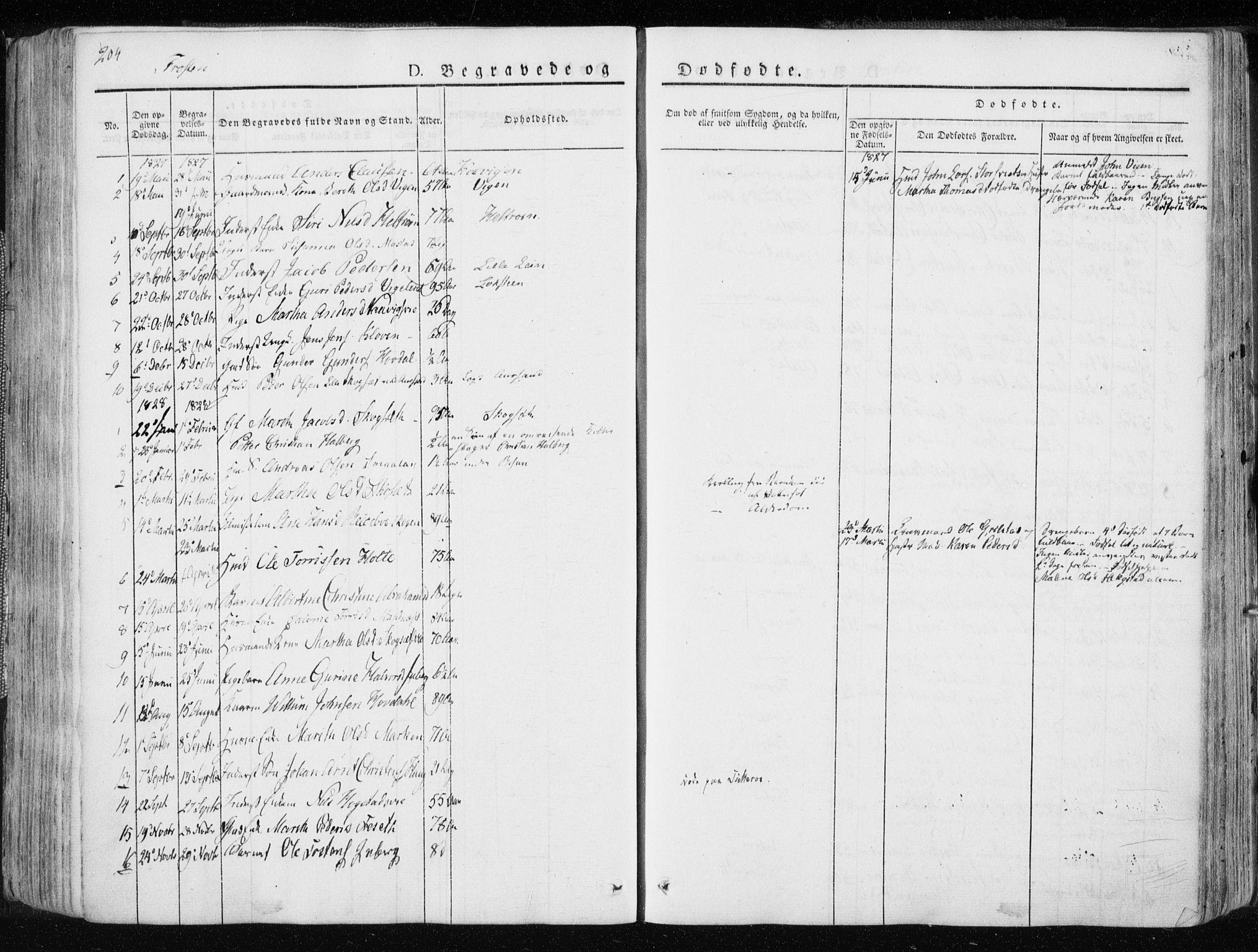 SAT, Ministerialprotokoller, klokkerbøker og fødselsregistre - Nord-Trøndelag, 713/L0114: Ministerialbok nr. 713A05, 1827-1839, s. 204