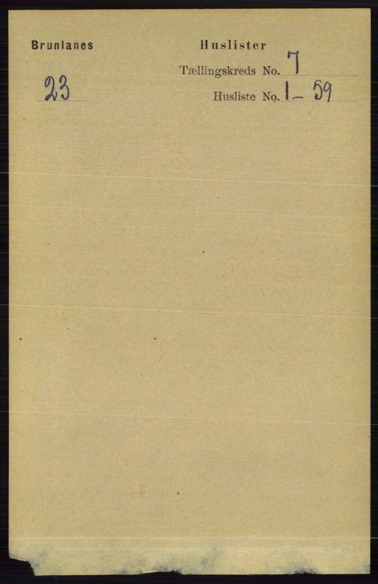 RA, Folketelling 1891 for 0726 Brunlanes herred, 1891, s. 2907
