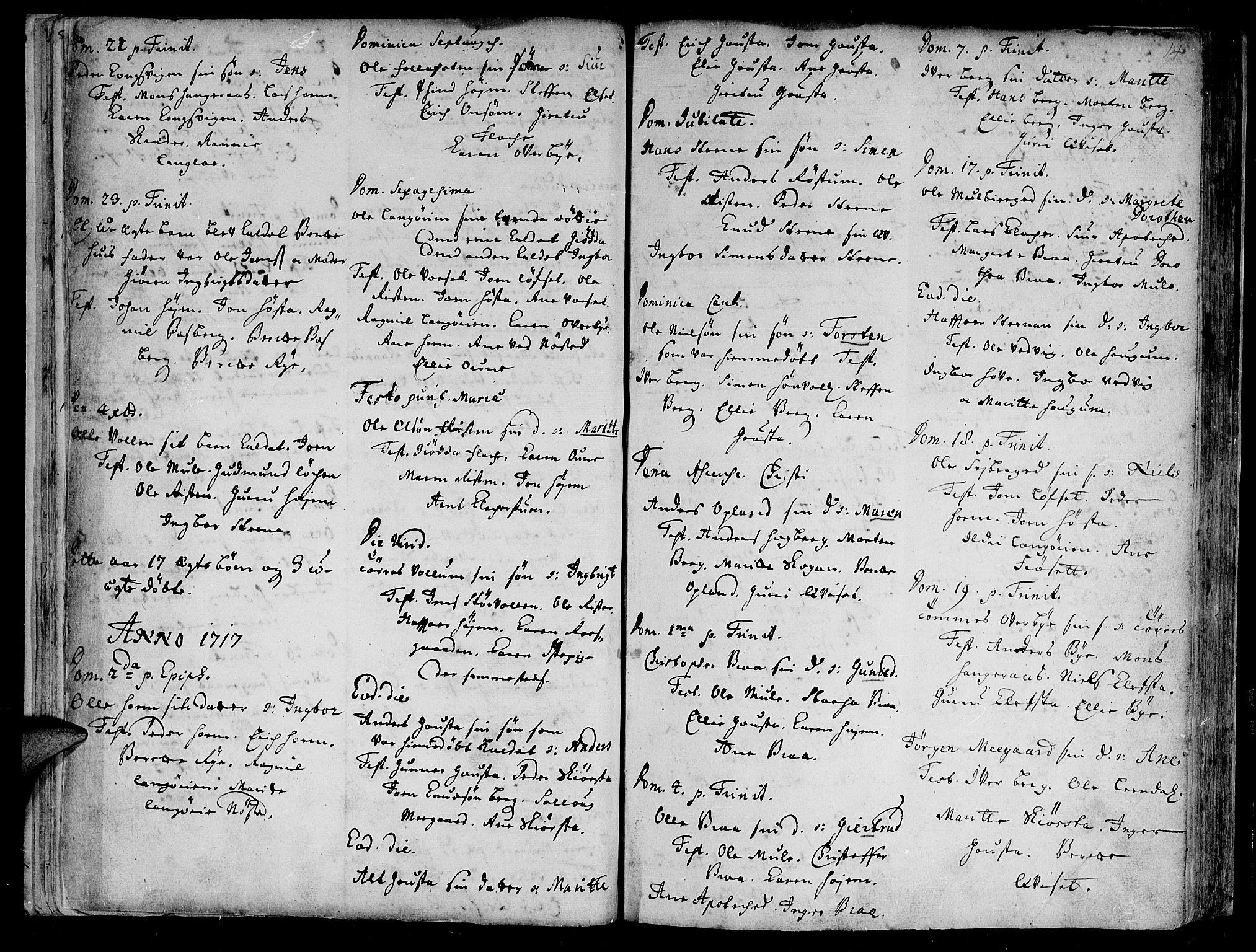 SAT, Ministerialprotokoller, klokkerbøker og fødselsregistre - Sør-Trøndelag, 612/L0368: Ministerialbok nr. 612A02, 1702-1753, s. 14