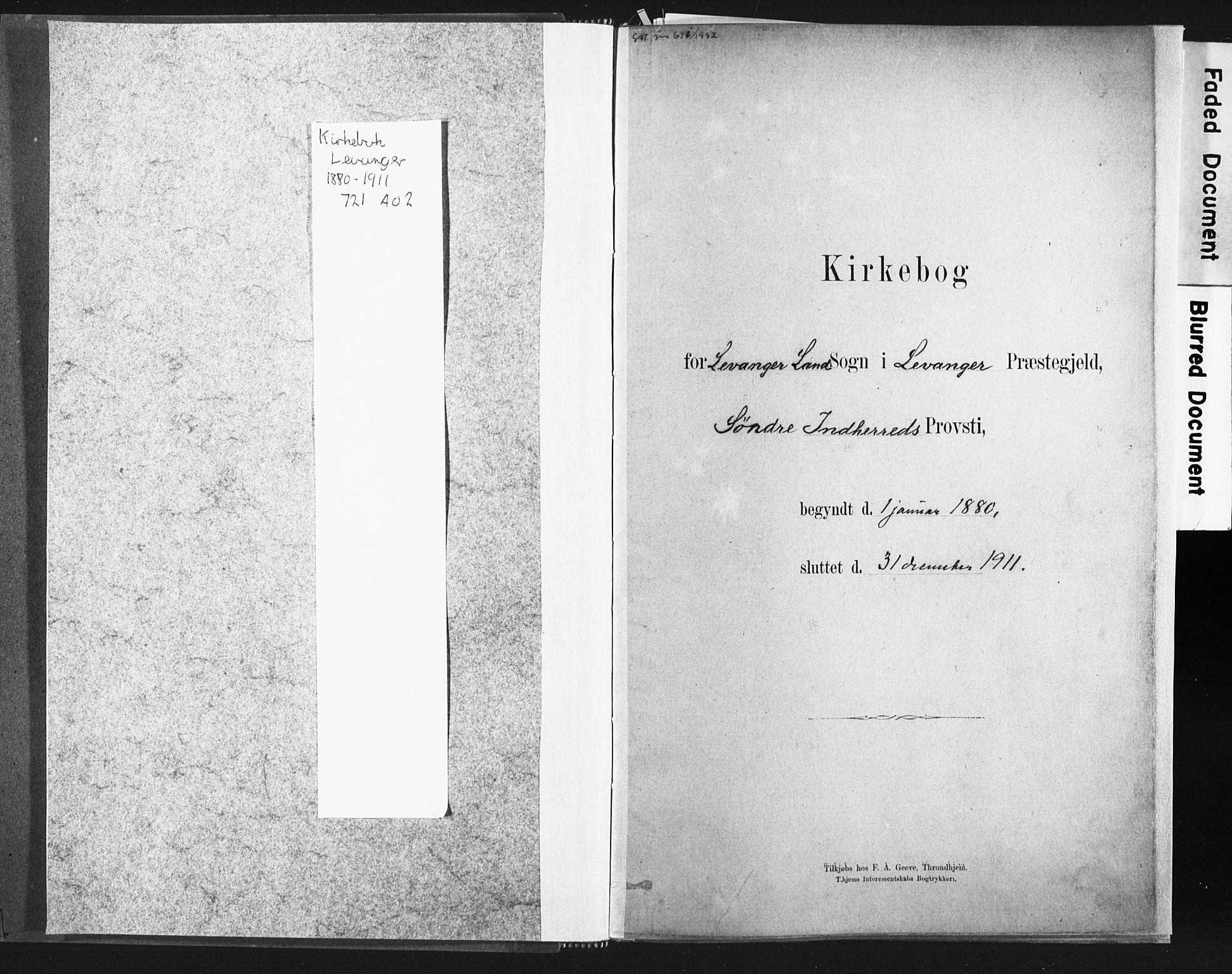 SAT, Ministerialprotokoller, klokkerbøker og fødselsregistre - Nord-Trøndelag, 721/L0207: Ministerialbok nr. 721A02, 1880-1911