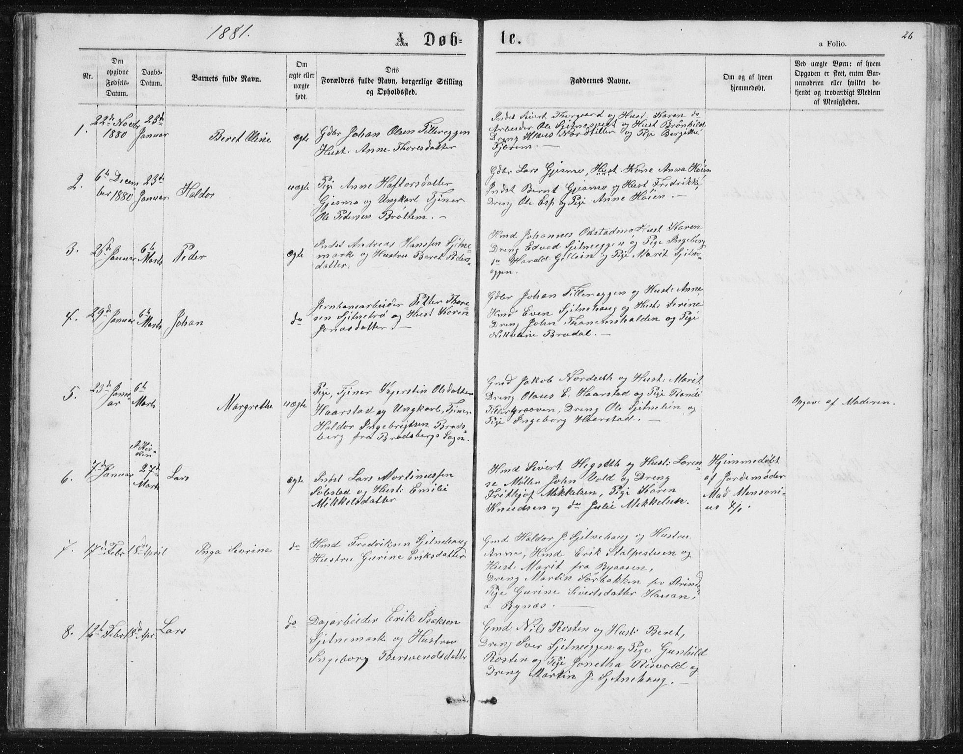 SAT, Ministerialprotokoller, klokkerbøker og fødselsregistre - Sør-Trøndelag, 621/L0459: Klokkerbok nr. 621C02, 1866-1895, s. 26