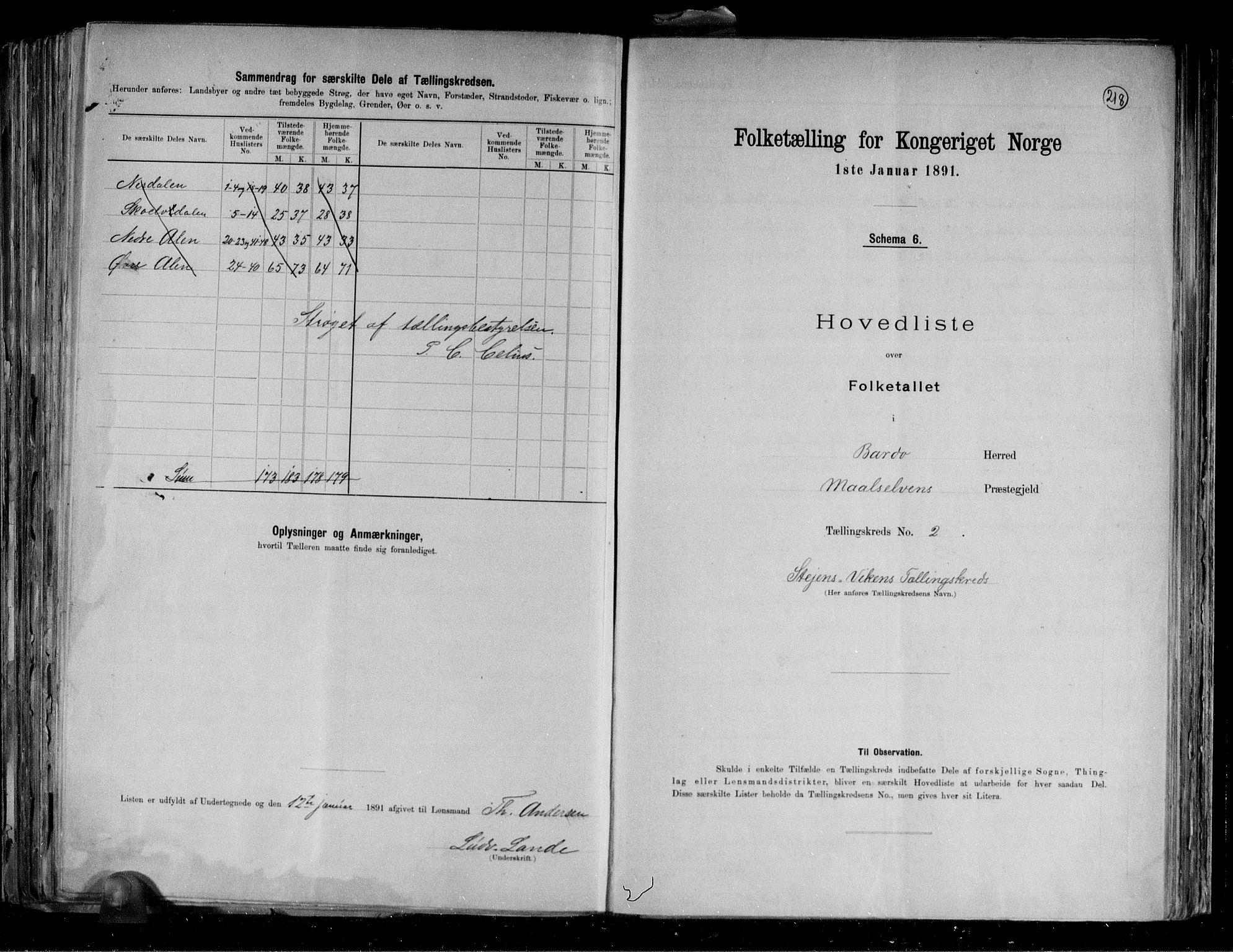 RA, Folketelling 1891 for 1922 Bardu herred, 1891, s. 6