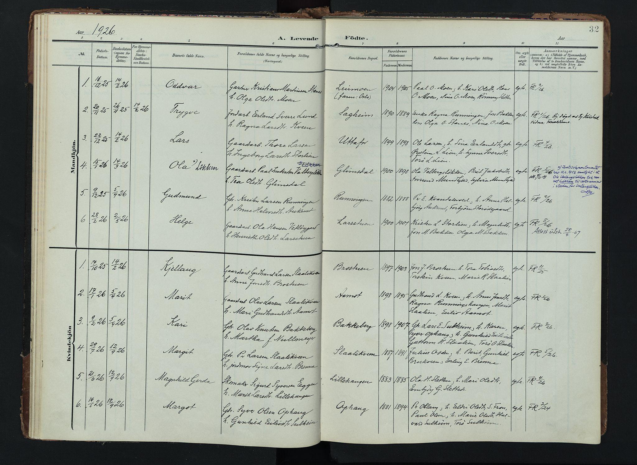 SAH, Lom prestekontor, K/L0012: Ministerialbok nr. 12, 1904-1928, s. 32