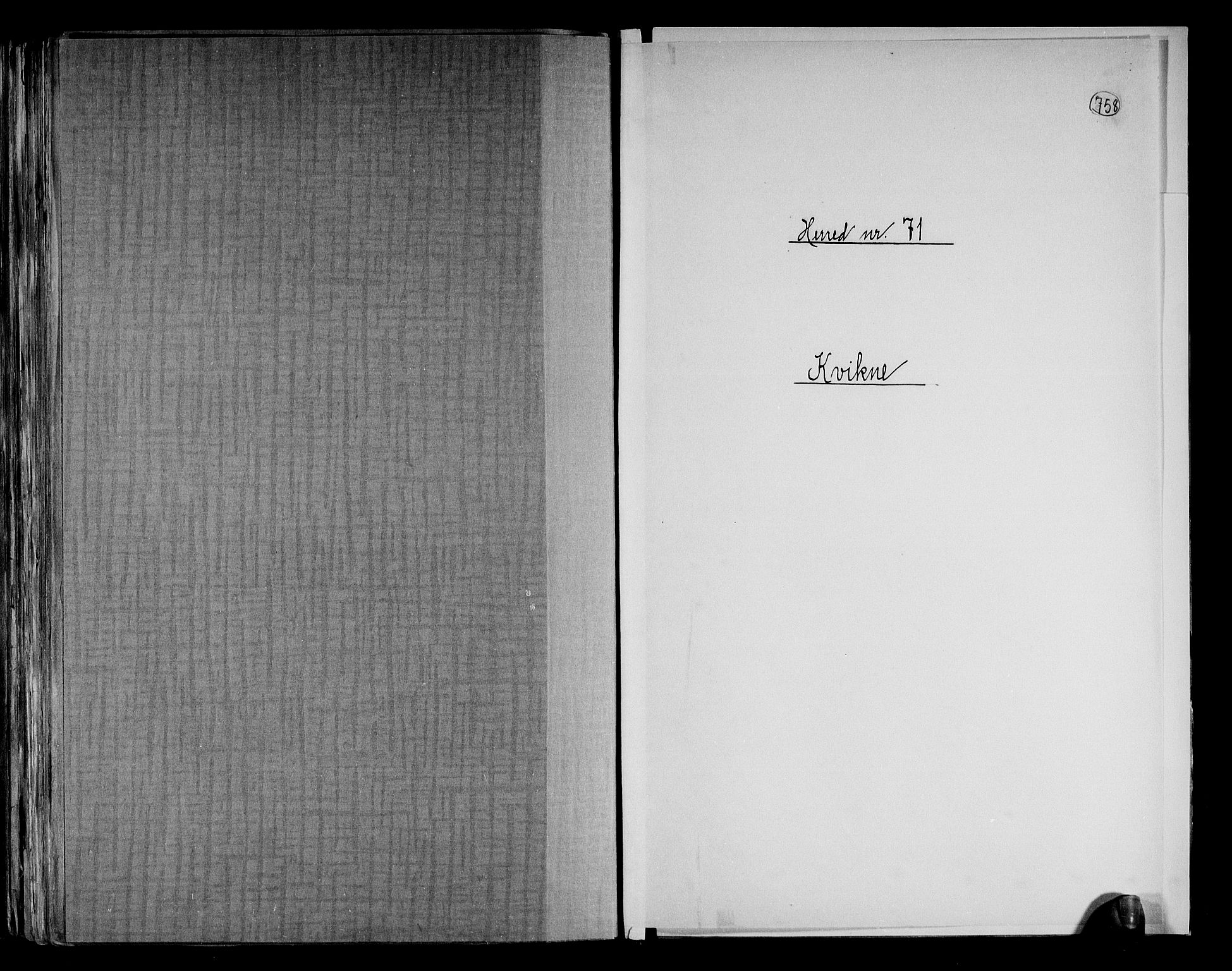 RA, Folketelling 1891 for 0440 Kvikne herred, 1891, s. 1