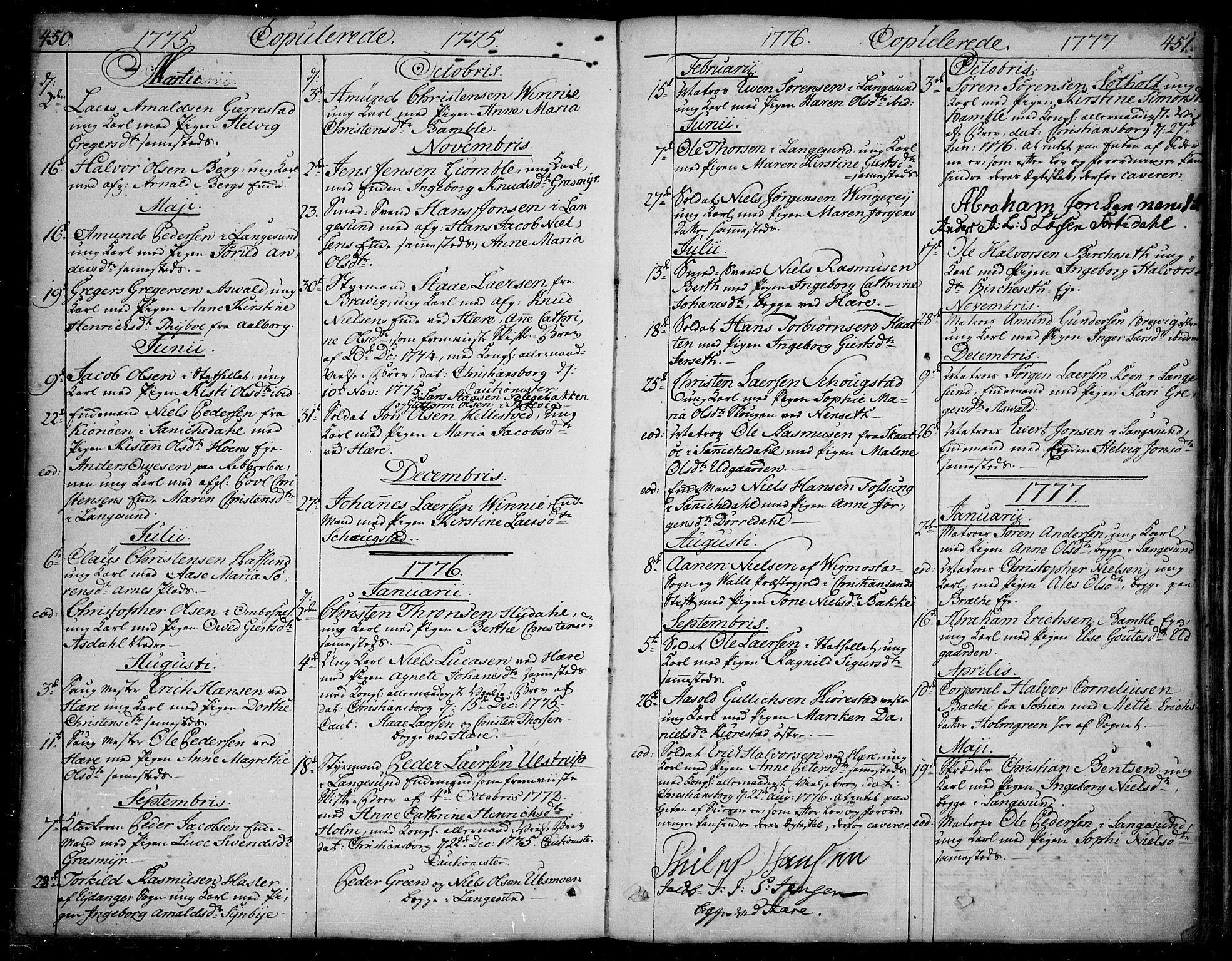 SAKO, Bamble kirkebøker, F/Fa/L0002: Ministerialbok nr. I 2, 1775-1814, s. 450-451