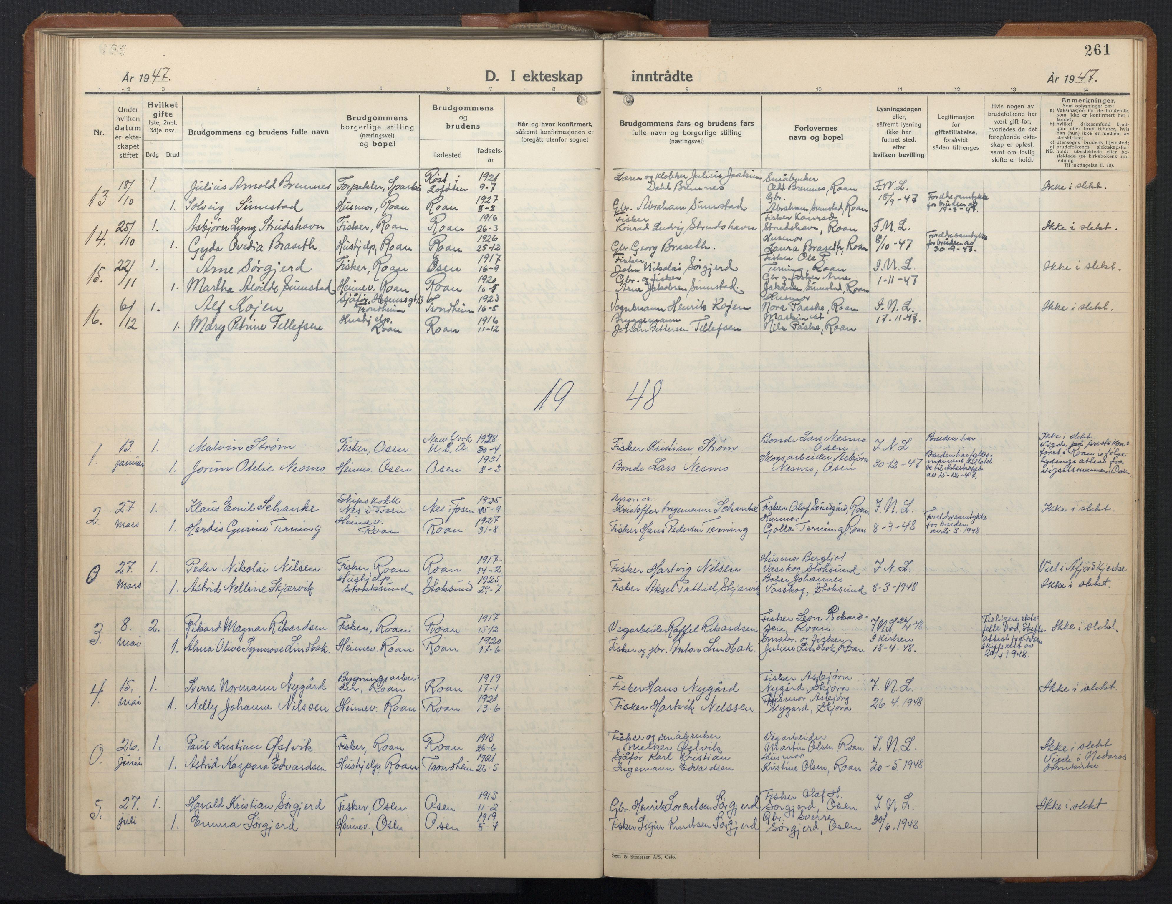 SAT, Ministerialprotokoller, klokkerbøker og fødselsregistre - Sør-Trøndelag, 657/L0718: Klokkerbok nr. 657C05, 1923-1948, s. 261