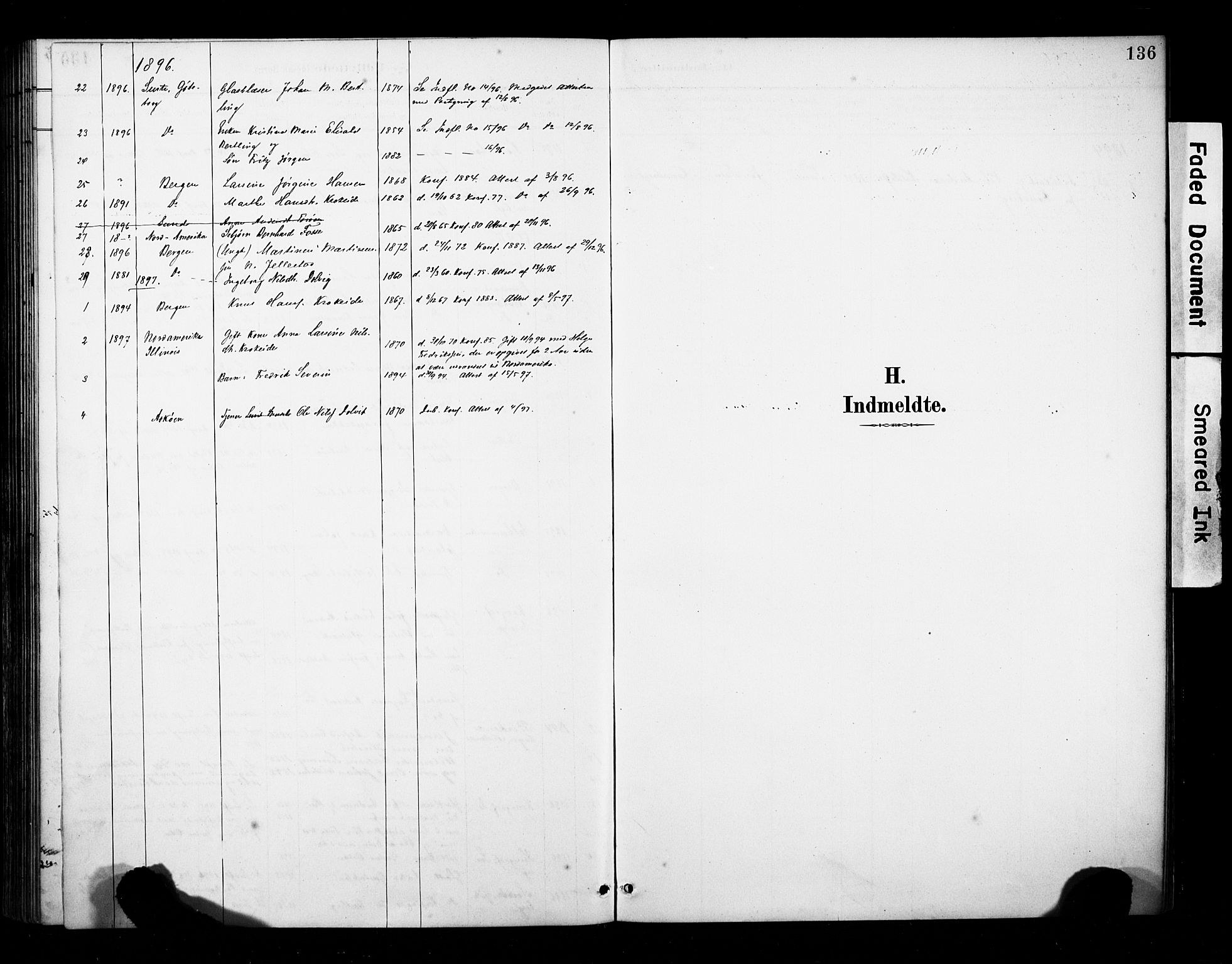 SAB, Fana Sokneprestembete, H/Haa/Haab/L0002: Ministerialbok nr. B 2, 1890-1897, s. 136