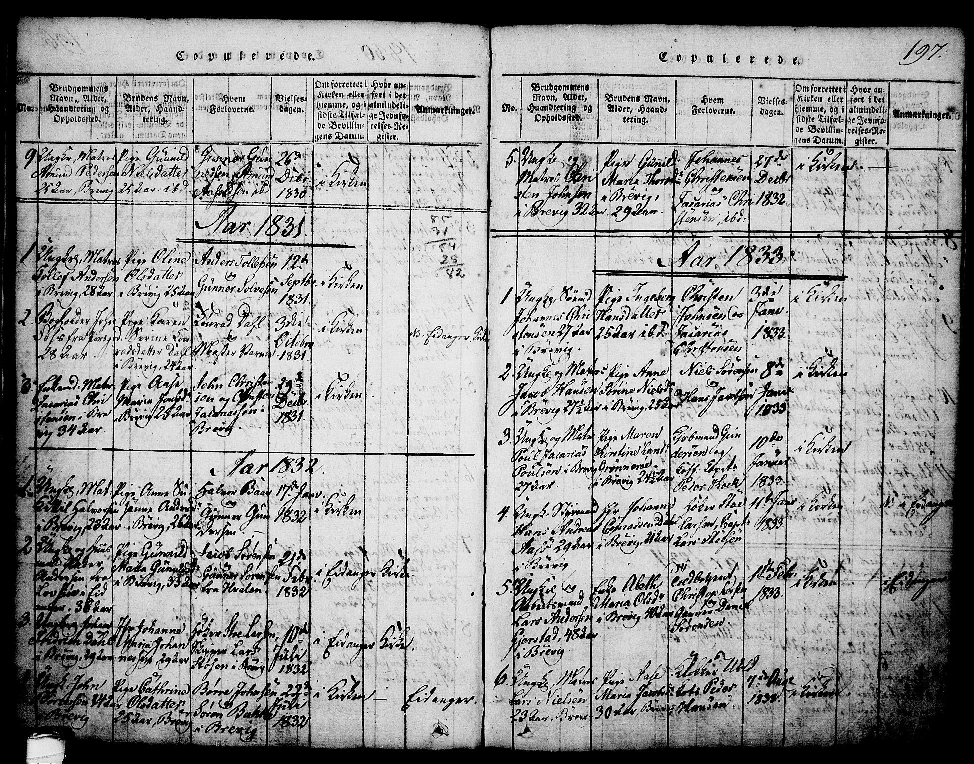 SAKO, Brevik kirkebøker, G/Ga/L0001: Klokkerbok nr. 1, 1814-1845, s. 197