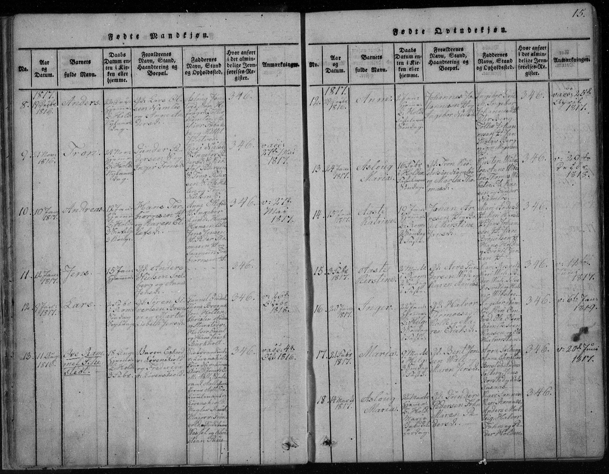 SAKO, Holla kirkebøker, F/Fa/L0003: Ministerialbok nr. 3, 1815-1830, s. 15