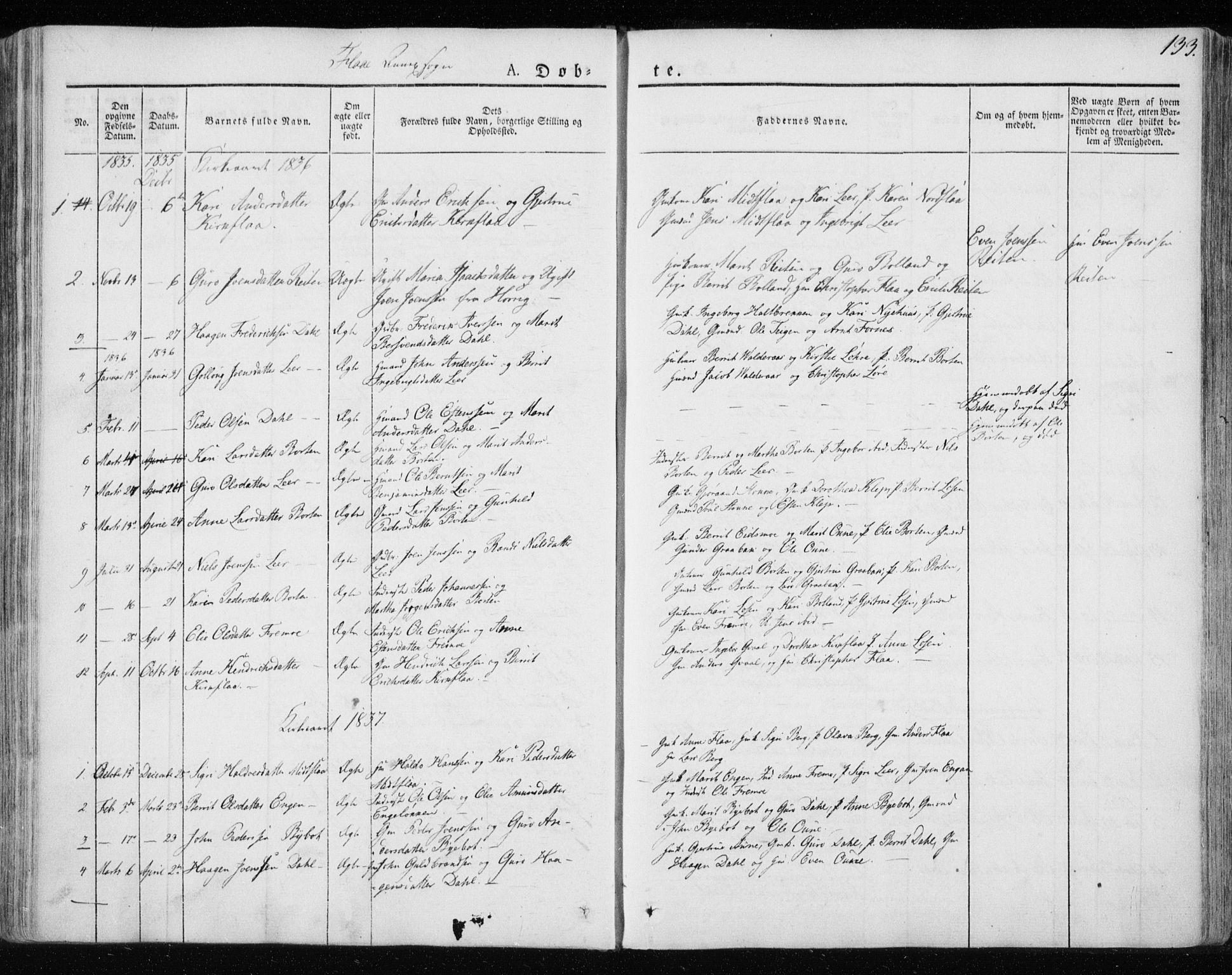 SAT, Ministerialprotokoller, klokkerbøker og fødselsregistre - Sør-Trøndelag, 691/L1069: Ministerialbok nr. 691A04, 1826-1841, s. 133