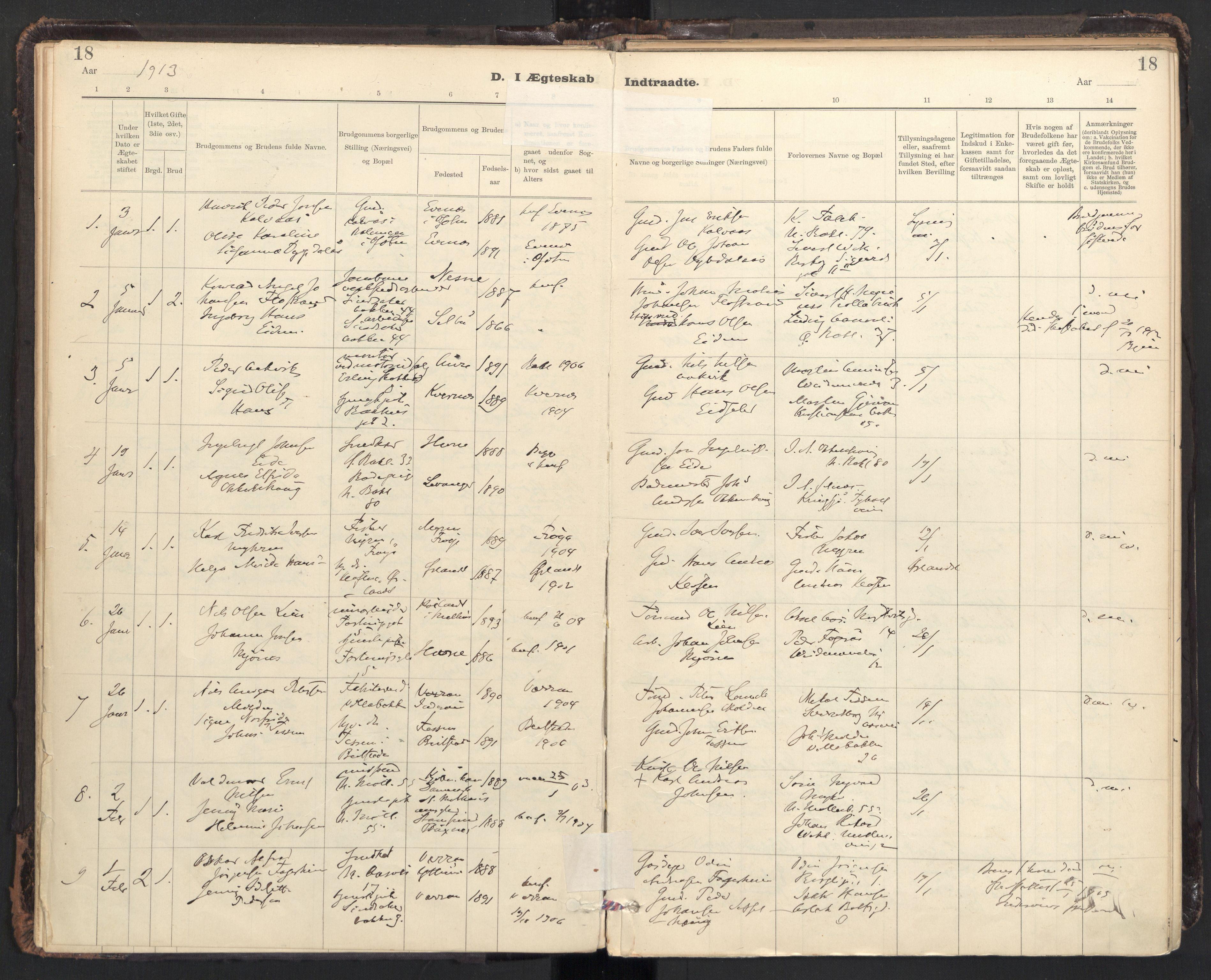SAT, Ministerialprotokoller, klokkerbøker og fødselsregistre - Sør-Trøndelag, 604/L0204: Ministerialbok nr. 604A24, 1911-1920, s. 18