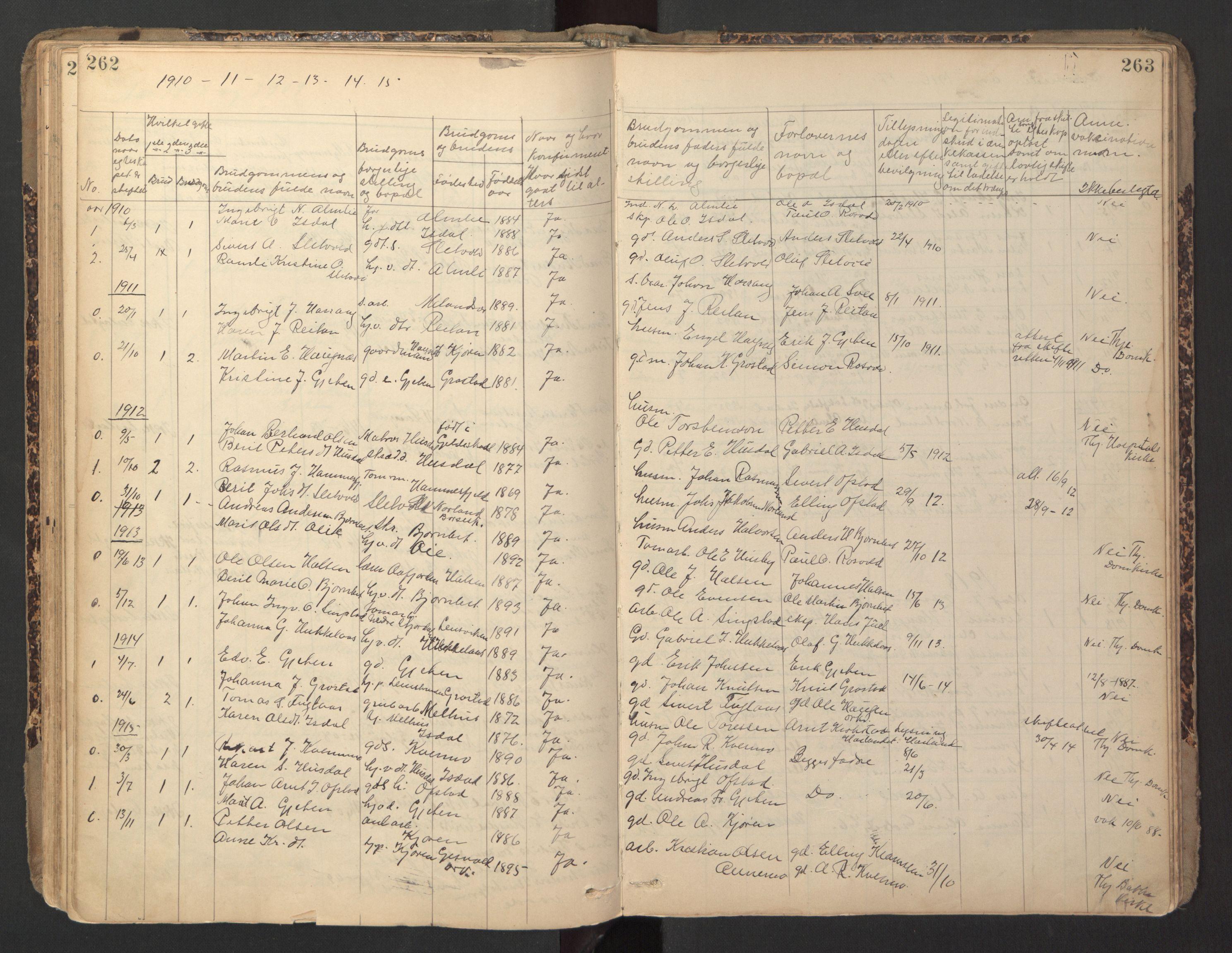 SAT, Ministerialprotokoller, klokkerbøker og fødselsregistre - Sør-Trøndelag, 670/L0837: Klokkerbok nr. 670C01, 1905-1946, s. 262-263