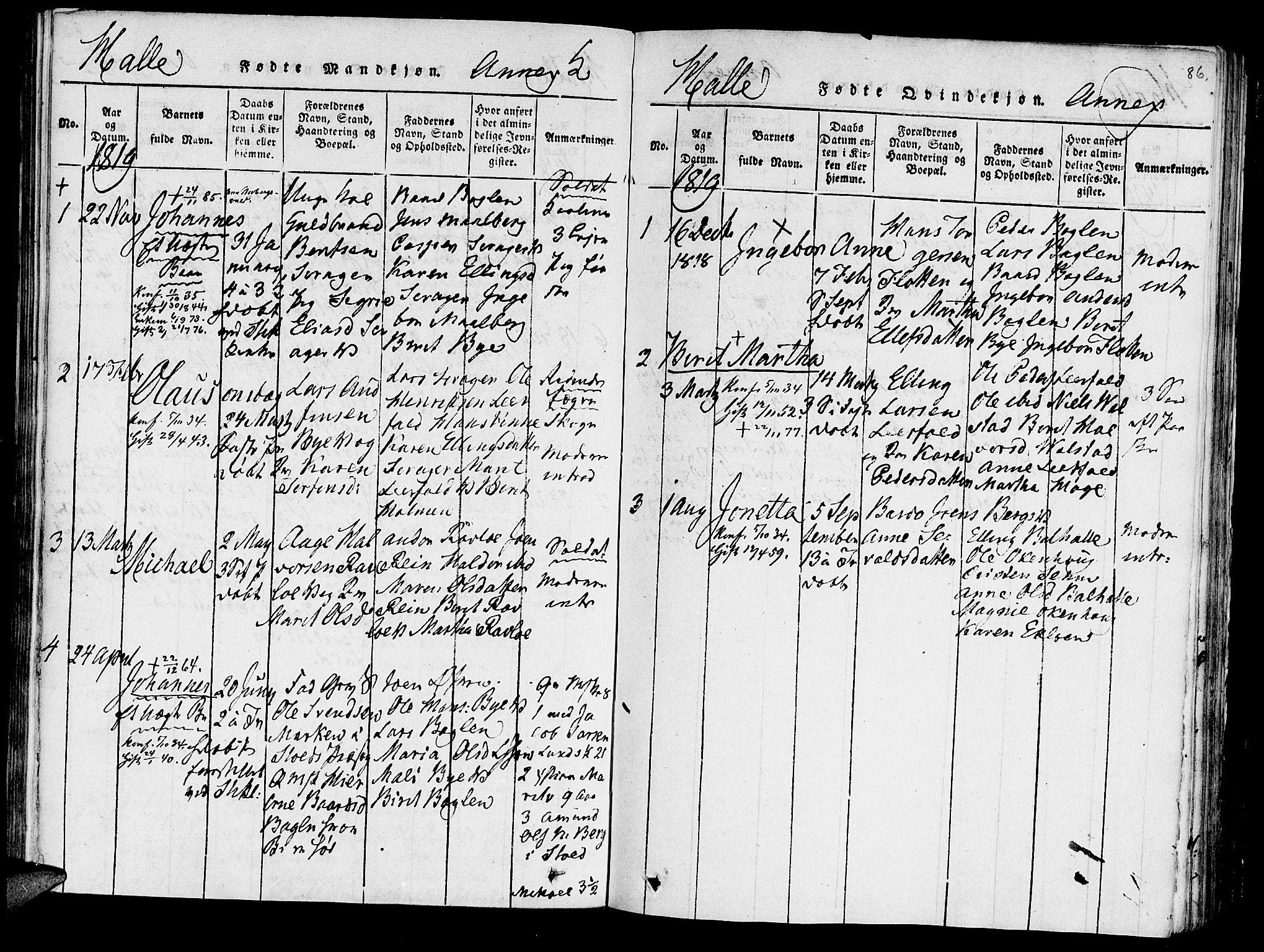 SAT, Ministerialprotokoller, klokkerbøker og fødselsregistre - Nord-Trøndelag, 723/L0234: Ministerialbok nr. 723A05 /3, 1817-1821, s. 86