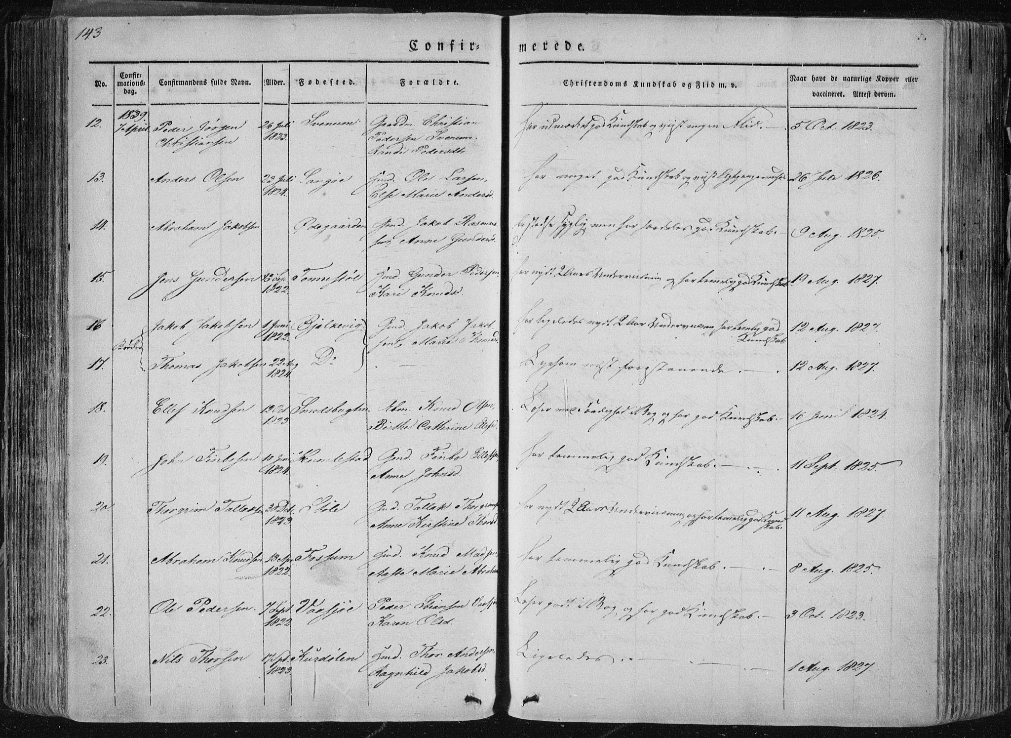 SAKO, Sannidal kirkebøker, F/Fa/L0007: Ministerialbok nr. 7, 1831-1854, s. 143