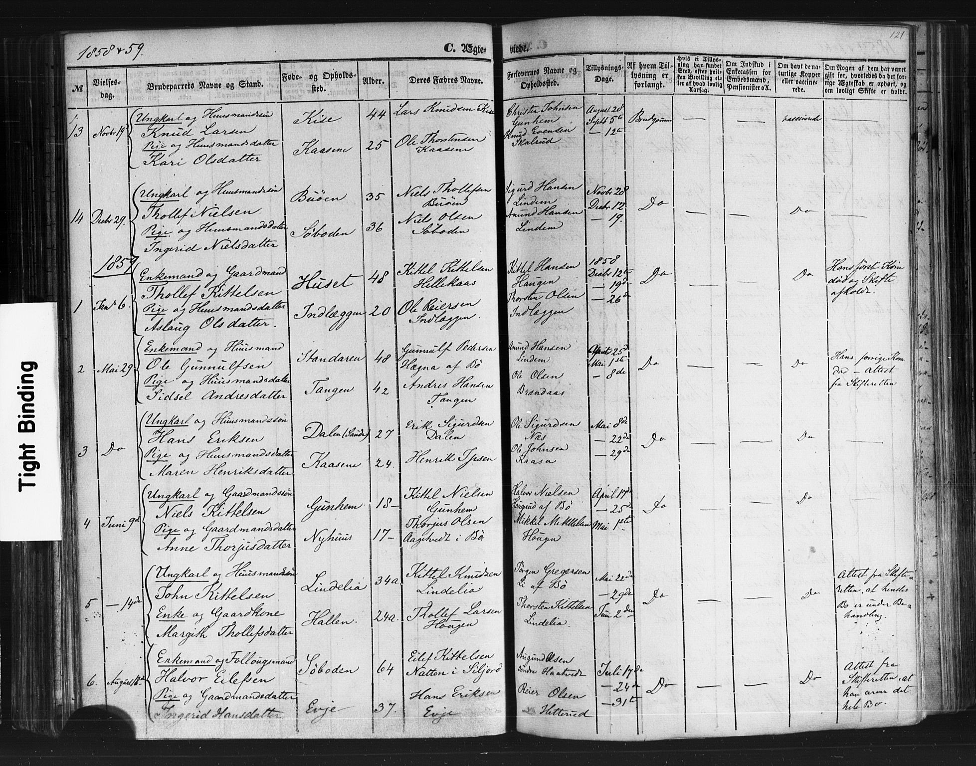 SAKO, Sauherad kirkebøker, F/Fb/L0001: Ministerialbok nr. II 1, 1851-1877, s. 121