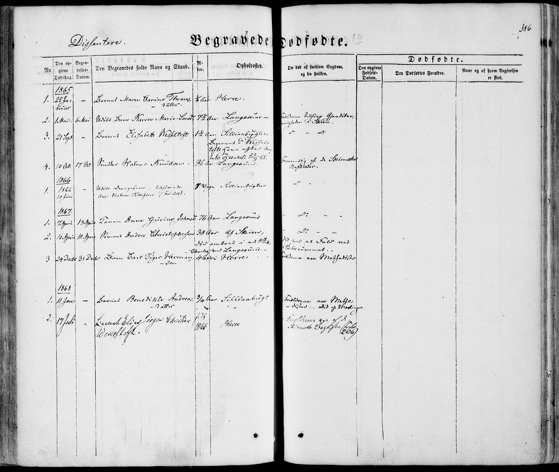 SAKO, Bamble kirkebøker, F/Fa/L0005: Ministerialbok nr. I 5, 1854-1869, s. 386