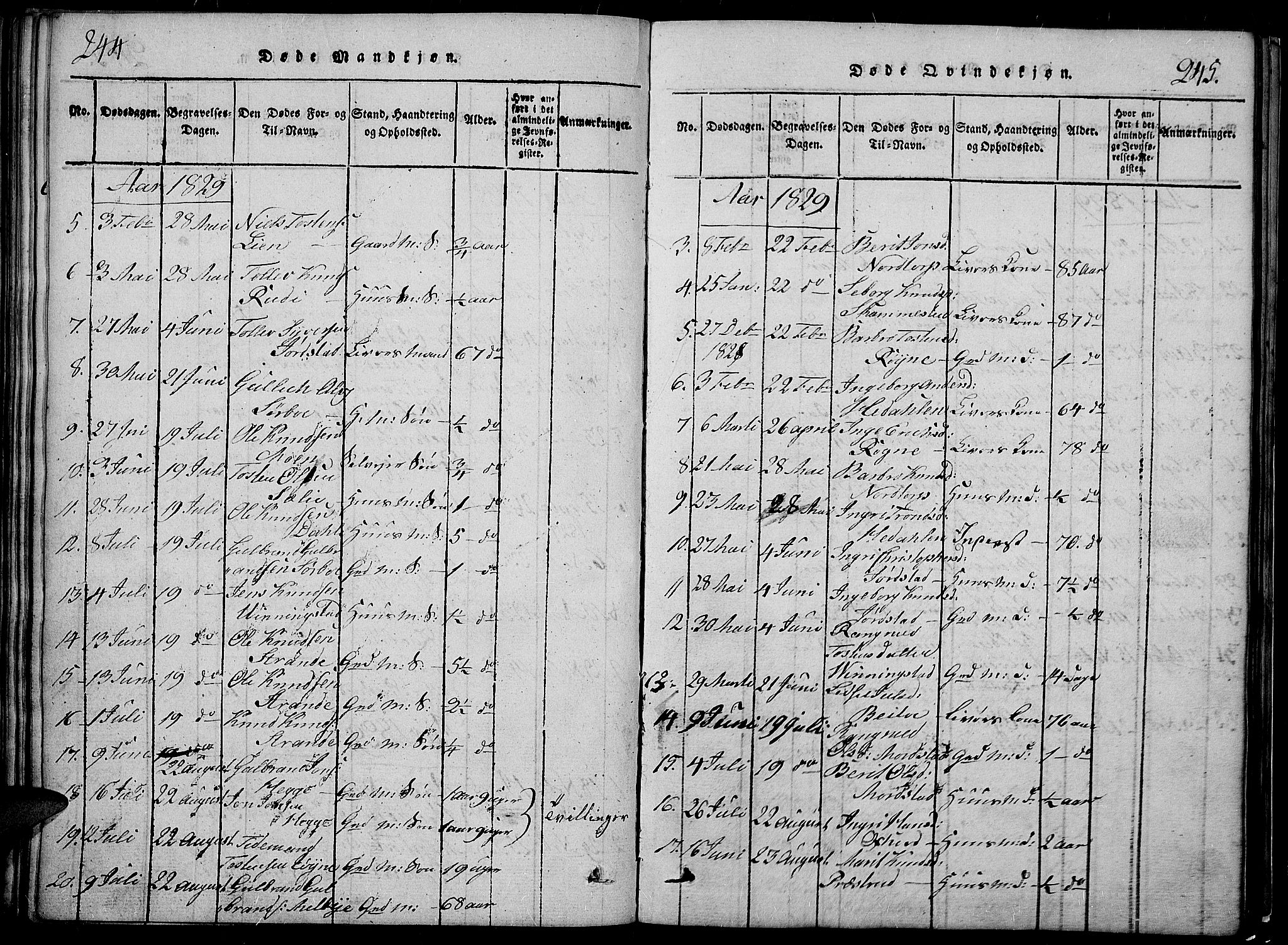 SAH, Slidre prestekontor, Klokkerbok nr. 2, 1814-1839, s. 244-245