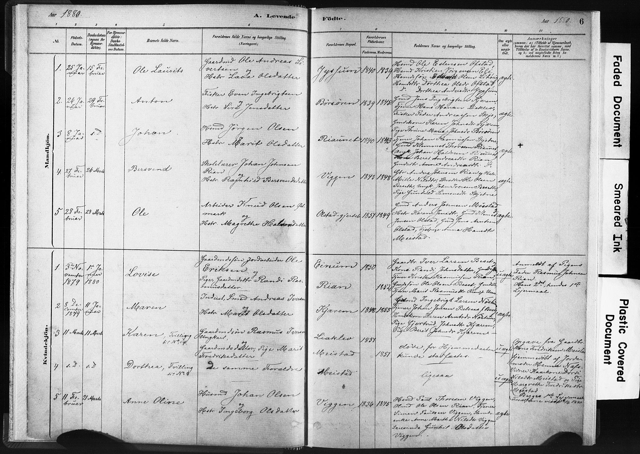 SAT, Ministerialprotokoller, klokkerbøker og fødselsregistre - Sør-Trøndelag, 665/L0773: Ministerialbok nr. 665A08, 1879-1905, s. 6