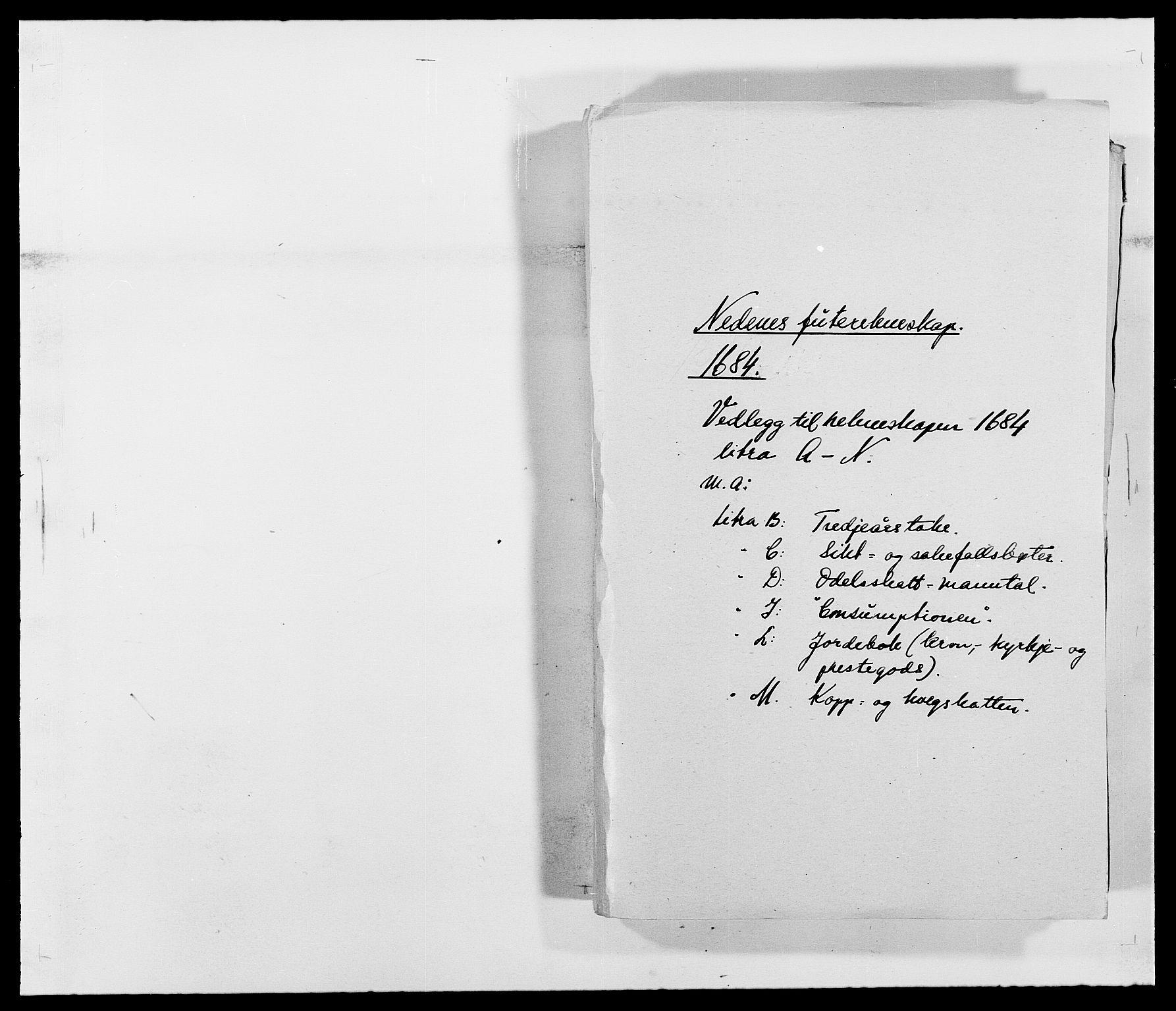 RA, Rentekammeret inntil 1814, Reviderte regnskaper, Fogderegnskap, R39/L2308: Fogderegnskap Nedenes, 1684-1689, s. 1