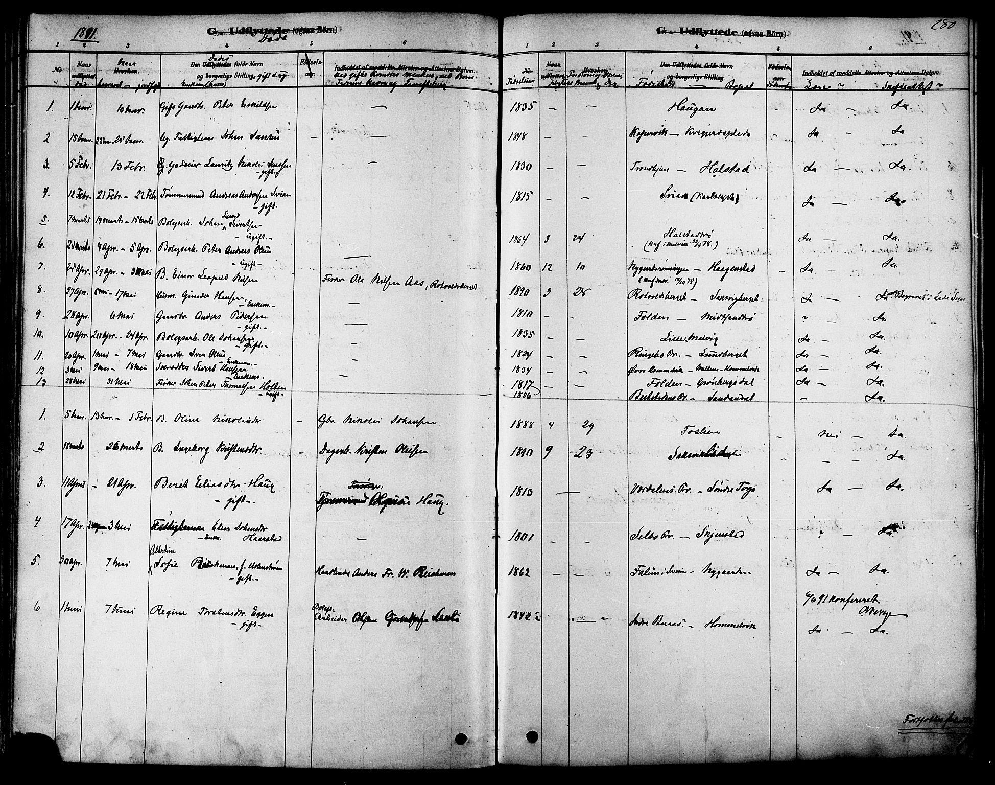 SAT, Ministerialprotokoller, klokkerbøker og fødselsregistre - Sør-Trøndelag, 616/L0410: Ministerialbok nr. 616A07, 1878-1893, s. 280