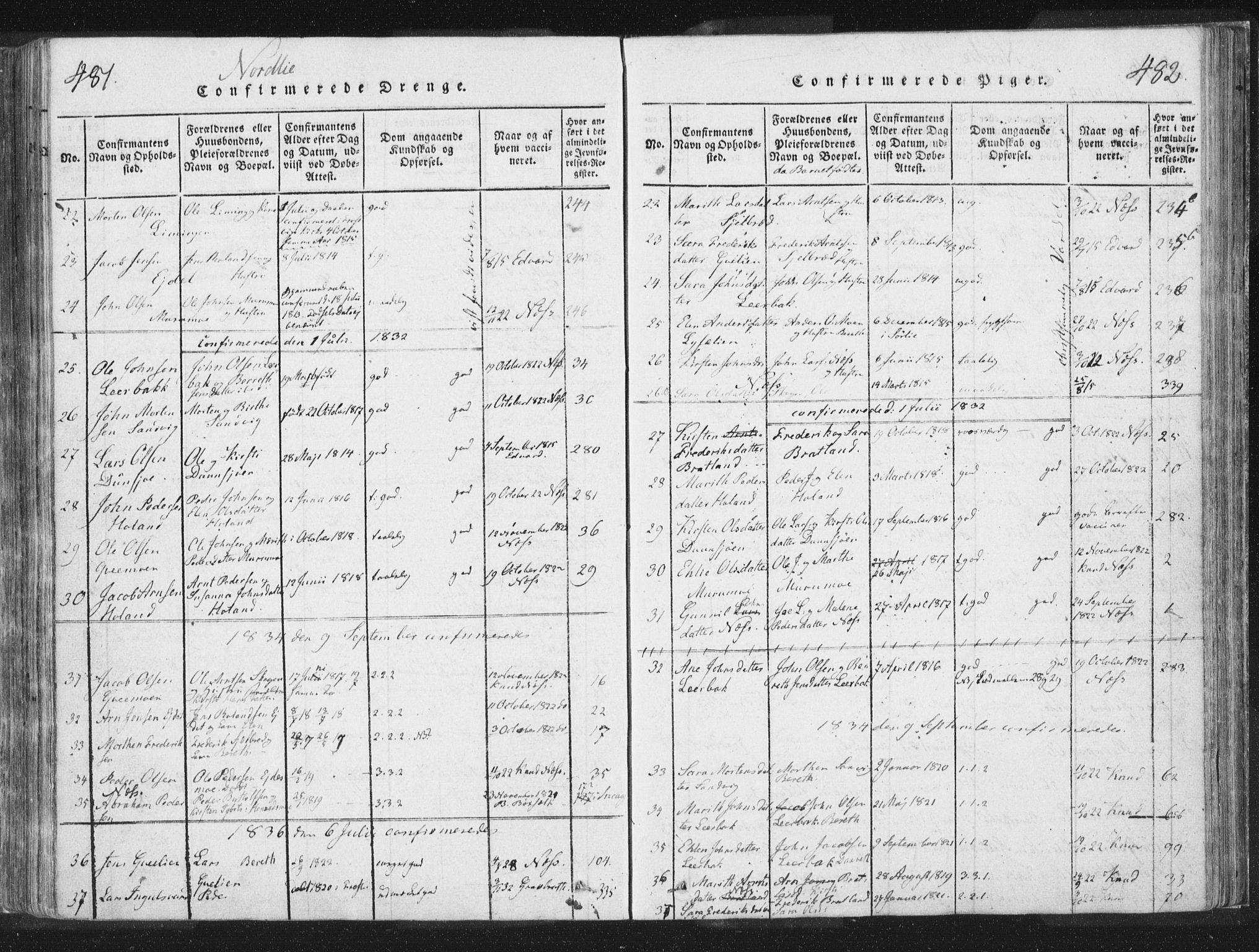 SAT, Ministerialprotokoller, klokkerbøker og fødselsregistre - Nord-Trøndelag, 755/L0491: Ministerialbok nr. 755A01 /1, 1817-1864, s. 481-482