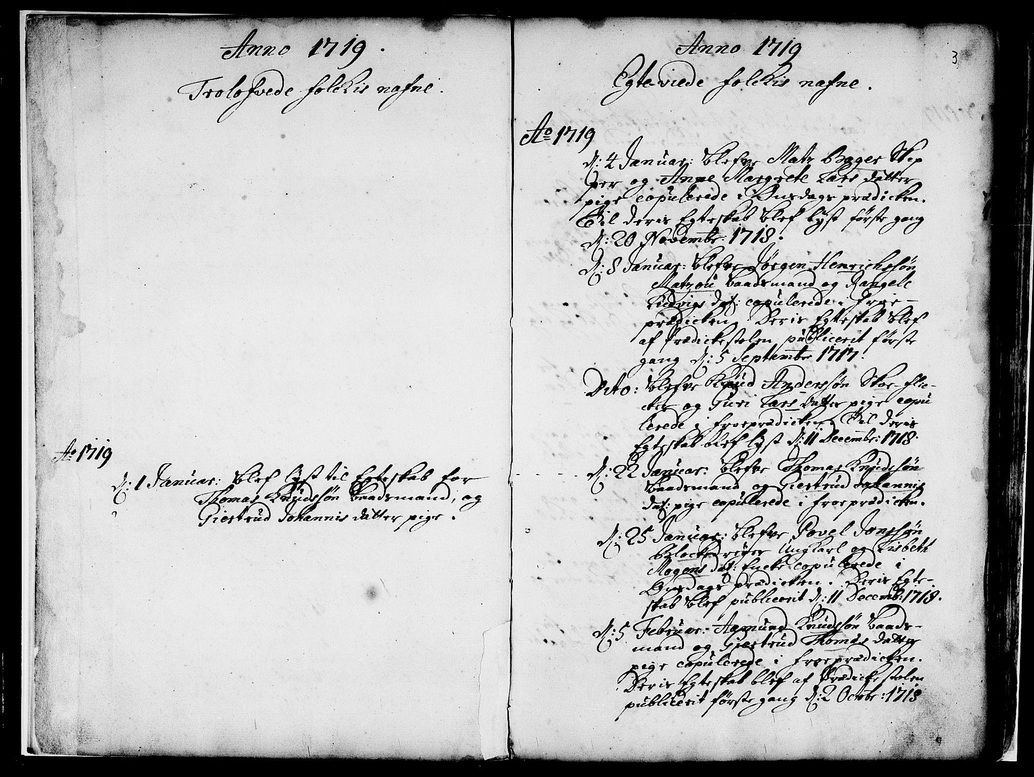 SAB, Nykirken Sokneprestembete, H/Haa: Ministerialbok nr. A 7, 1719-1781, s. 3