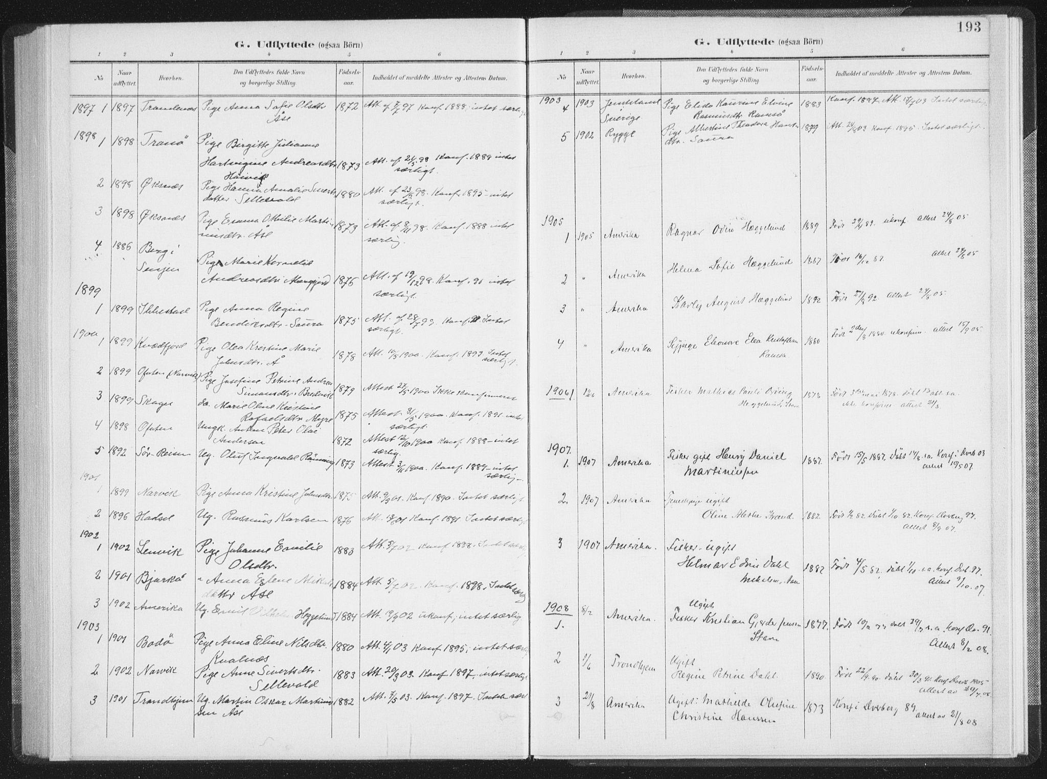 SAT, Ministerialprotokoller, klokkerbøker og fødselsregistre - Nordland, 897/L1400: Ministerialbok nr. 897A07, 1897-1908, s. 193