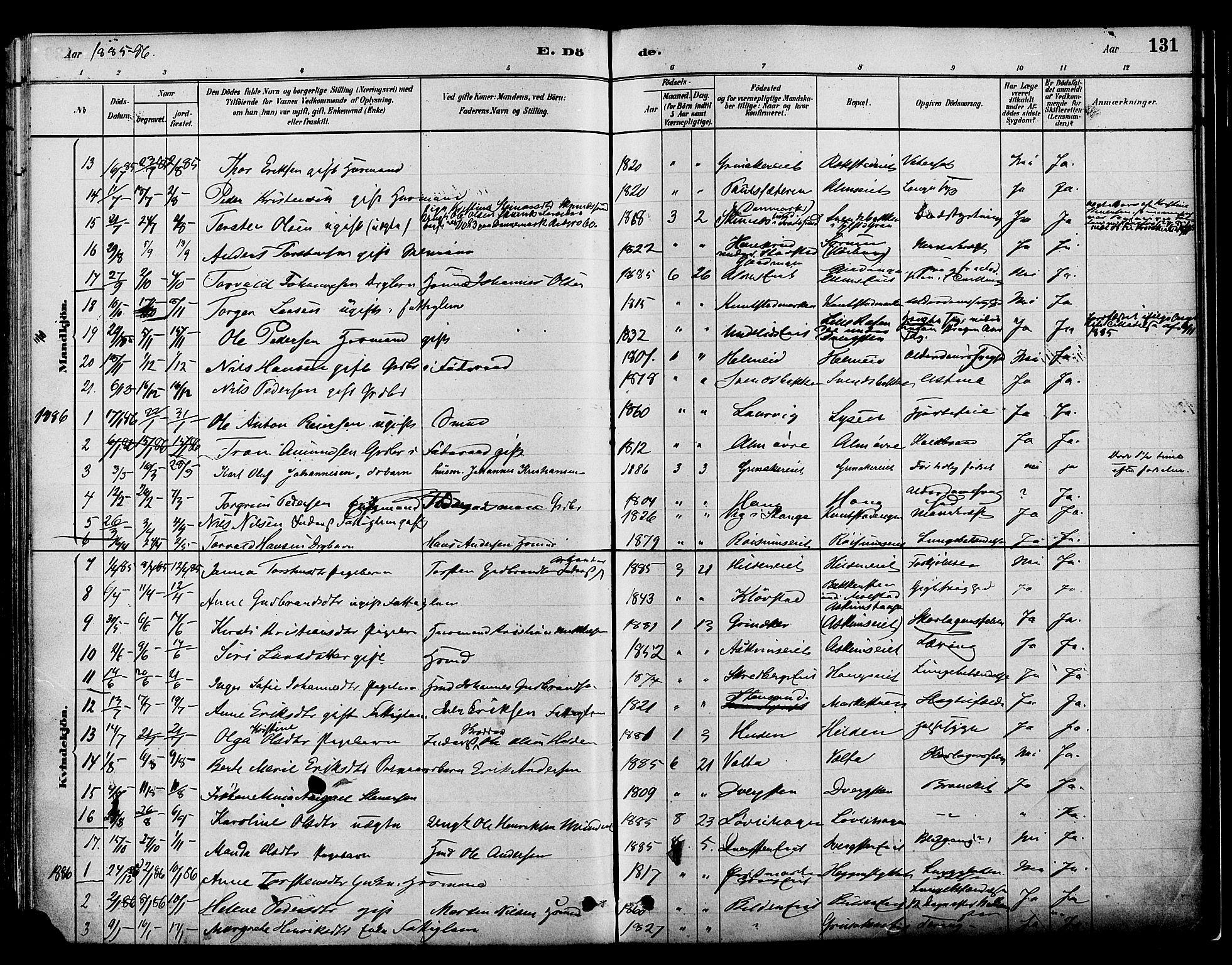 SAH, Gran prestekontor, Ministerialbok nr. 16, 1880-1888, s. 131